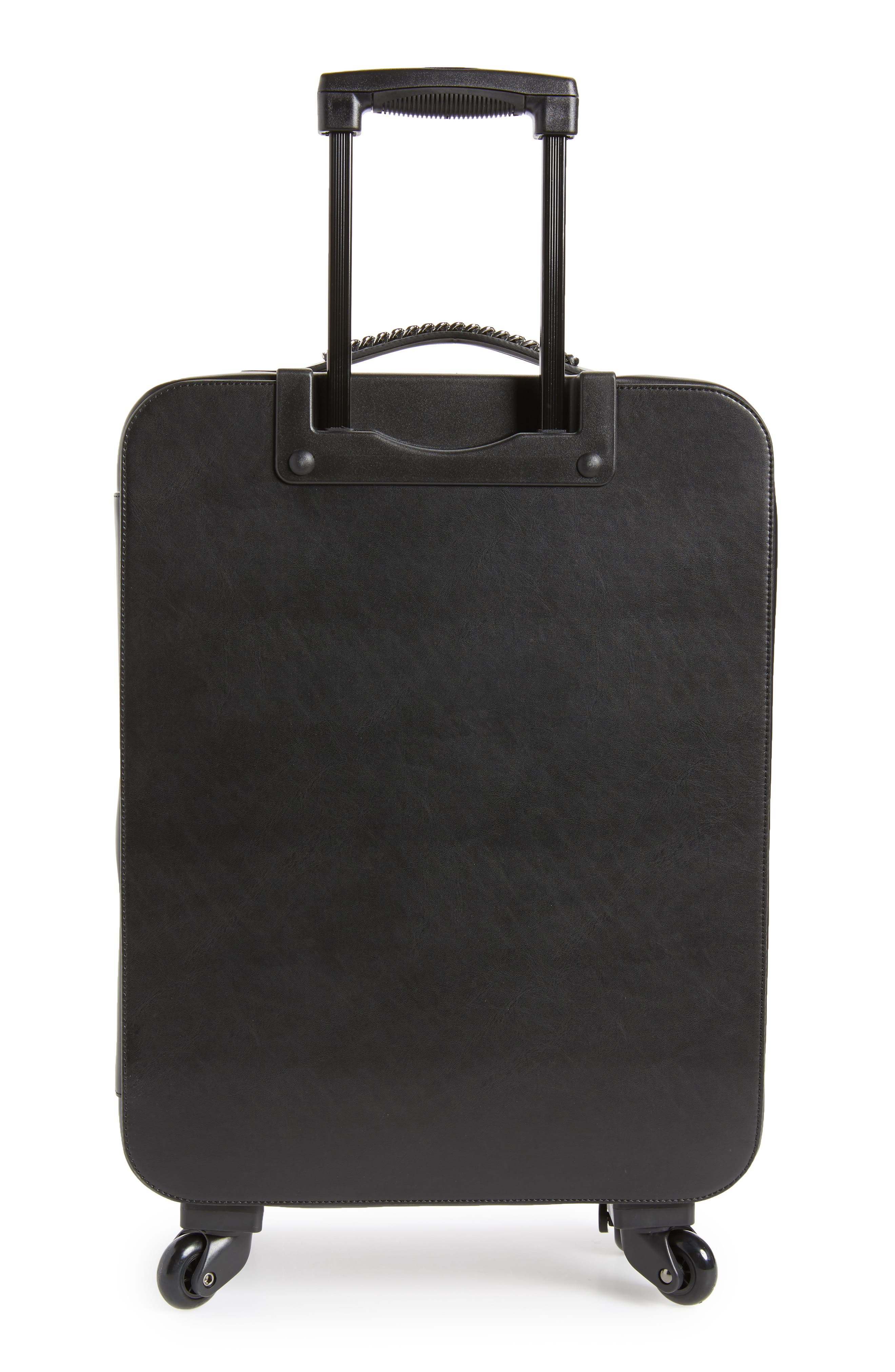 Falabella Faux Leather Spinner Suitcase,                             Alternate thumbnail 4, color,                             Black/ Black