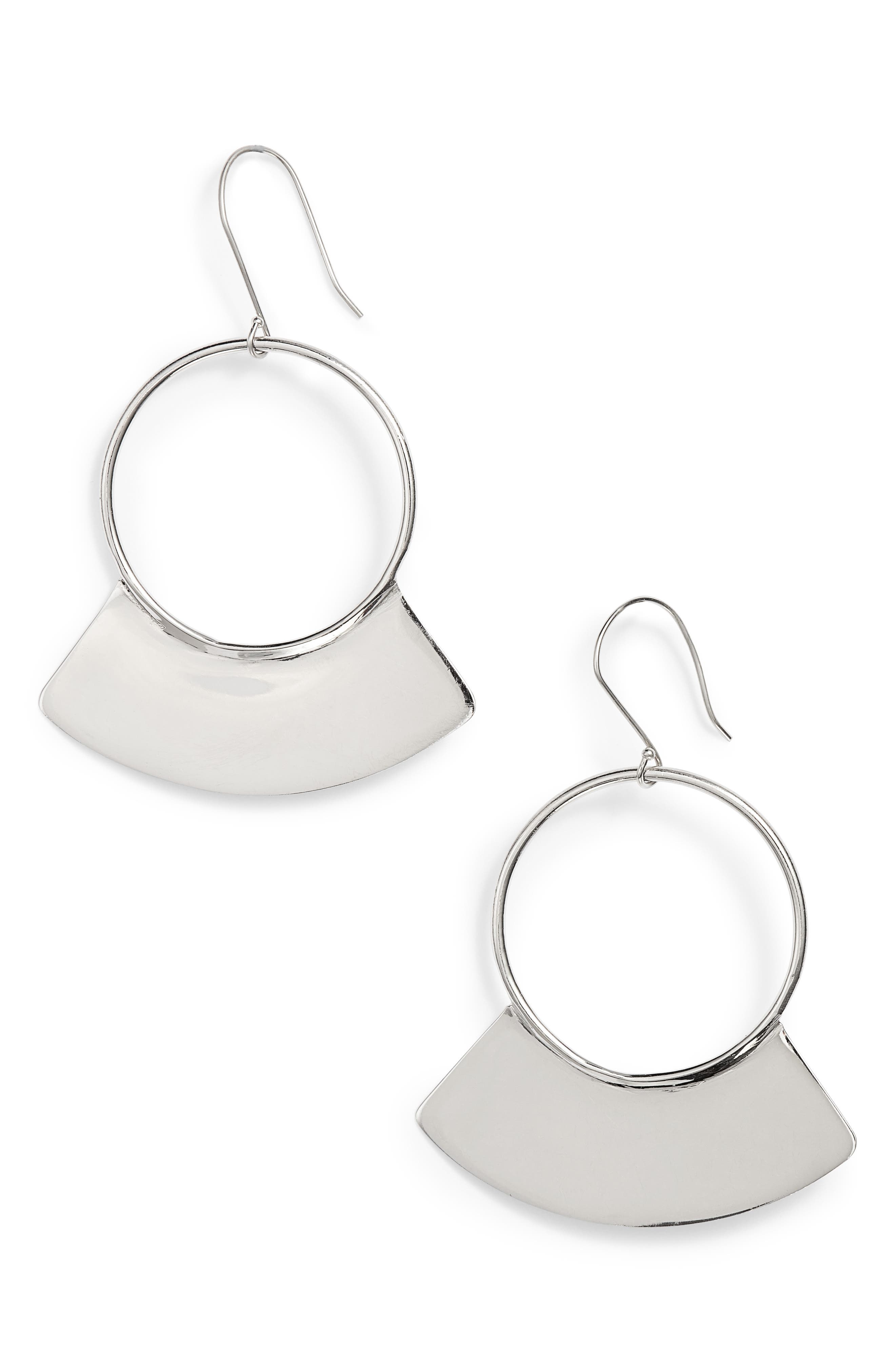 Paddle Earrings,                         Main,                         color, Silver