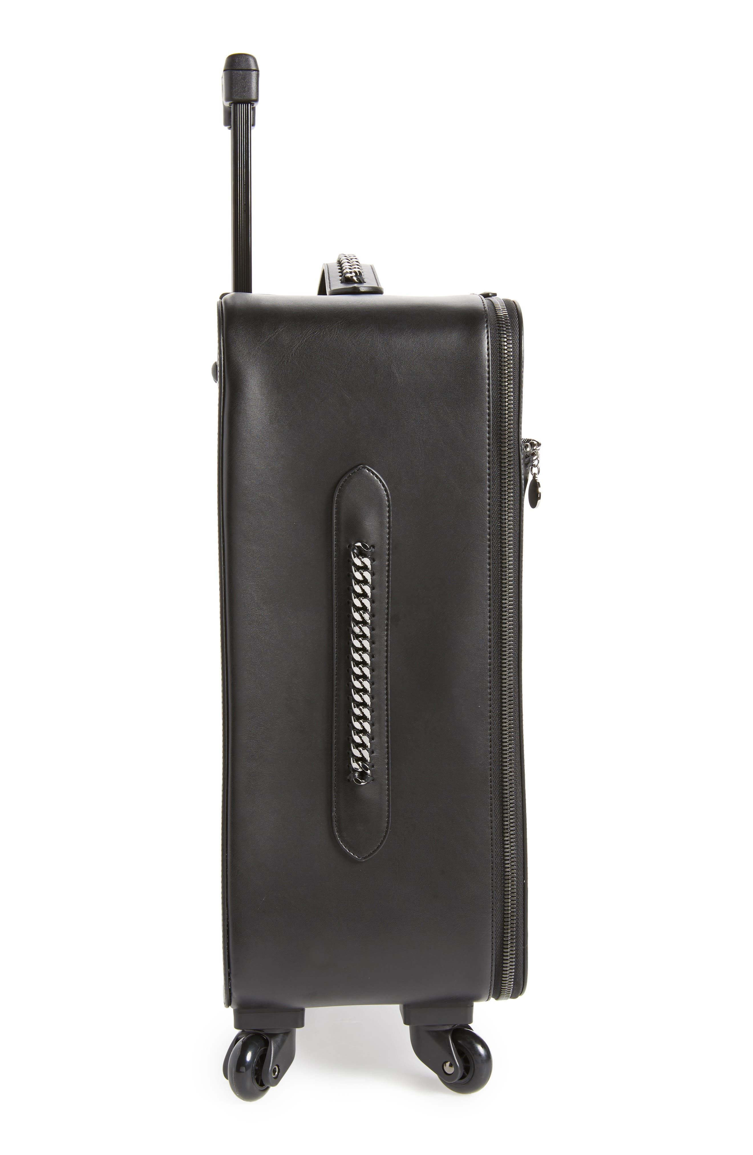 Falabella Faux Leather Spinner Suitcase,                             Alternate thumbnail 3, color,                             Black/ Black