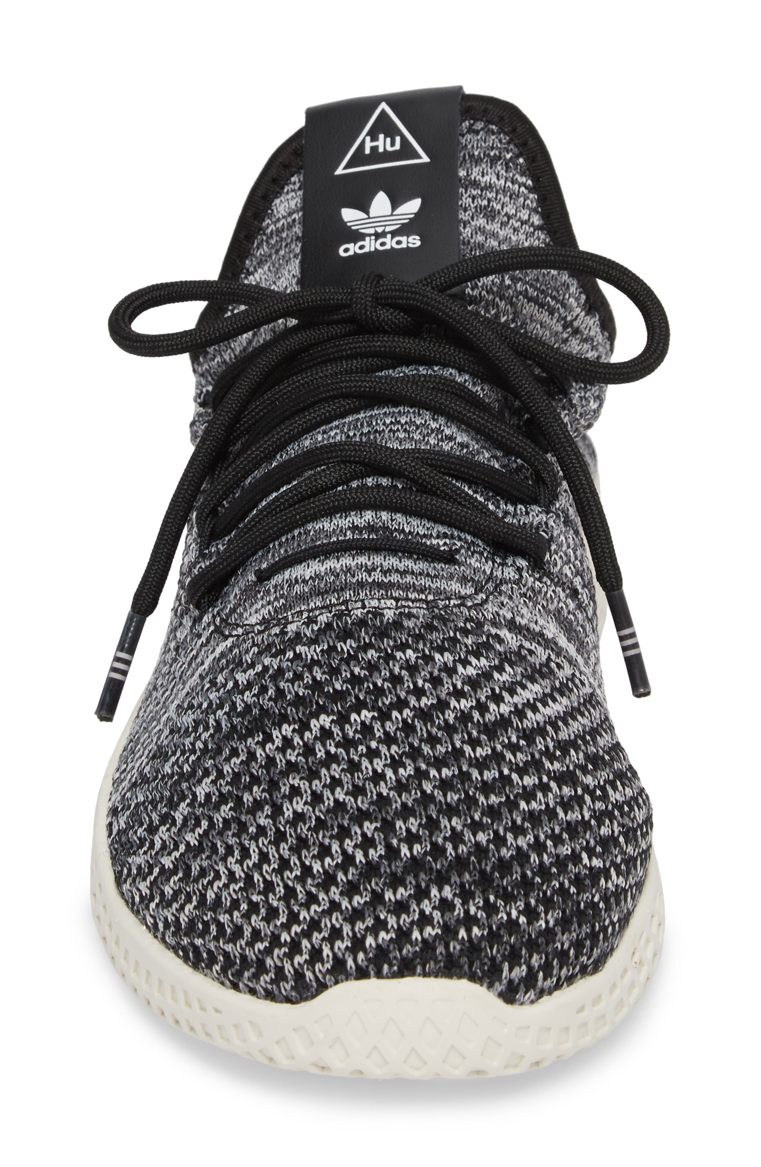 Pharrell Williams Tennis Hu Sneaker,                             Alternate thumbnail 4, color,                             Chalk White/ Core Black/ White
