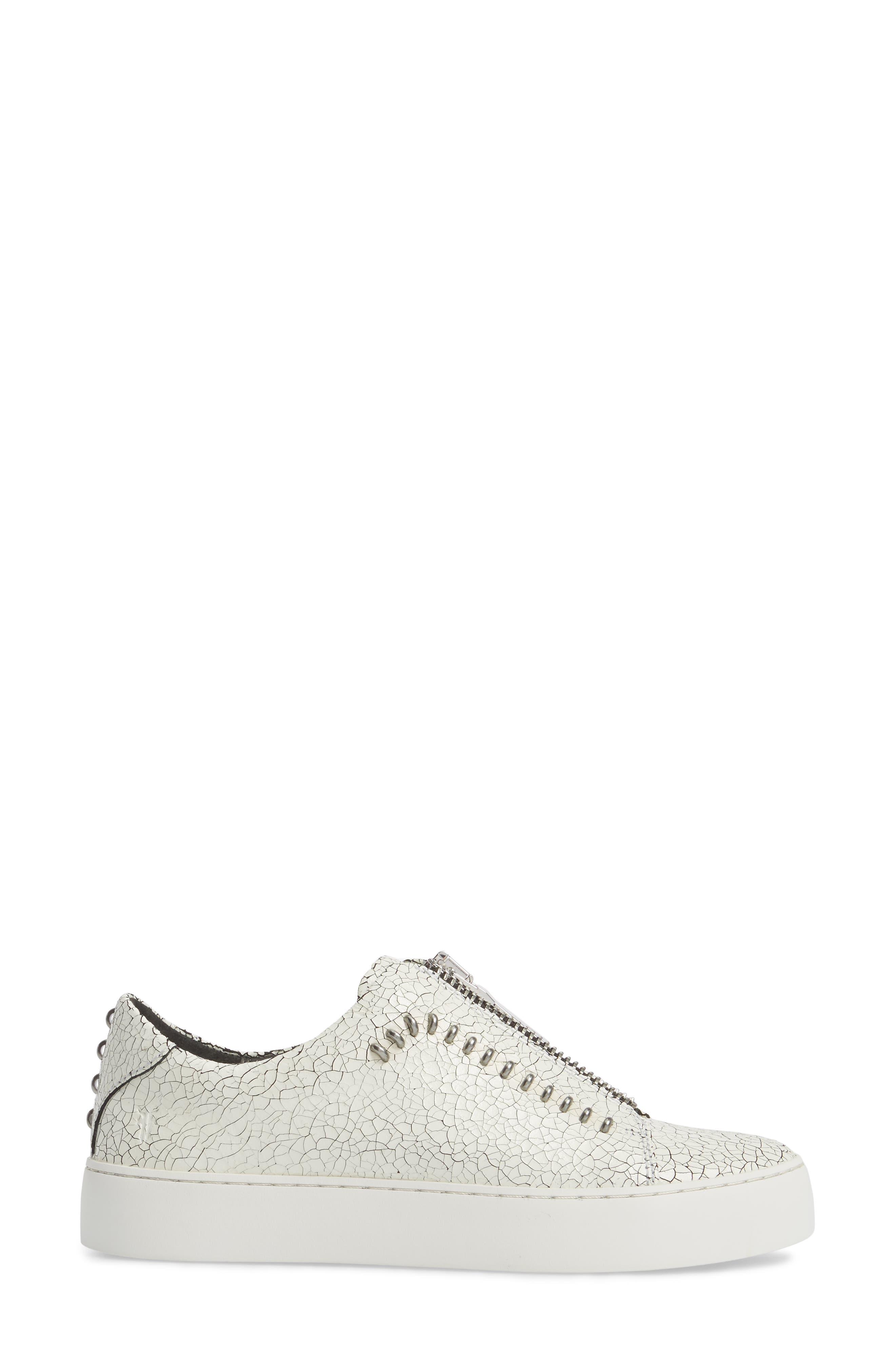 Lena Rebel Zip Sneaker,                             Alternate thumbnail 3, color,                             White Leather