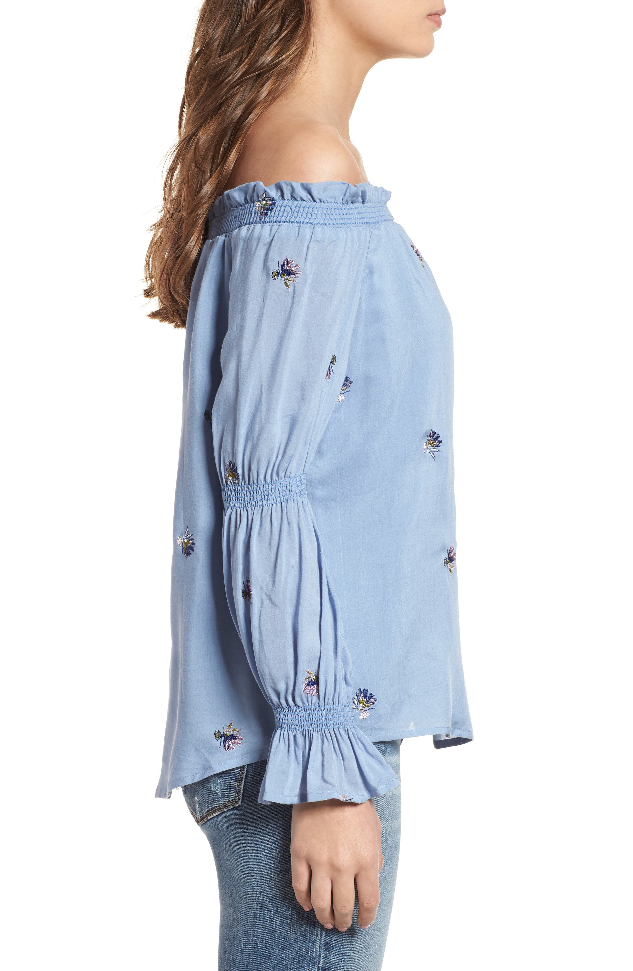 Rimini Off the Shoulder Top,                             Alternate thumbnail 3, color,                             Chambray Blue Embroidery