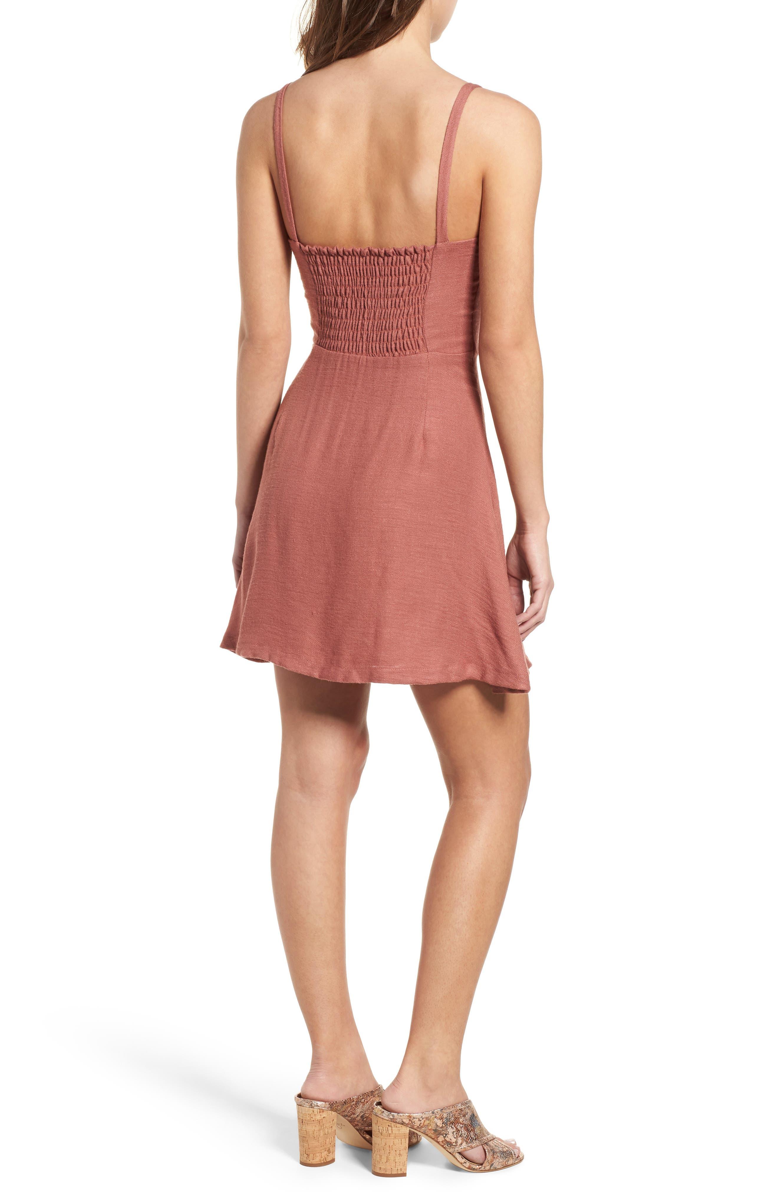 Button Front Dress,                             Alternate thumbnail 2, color,                             Coral Cedar