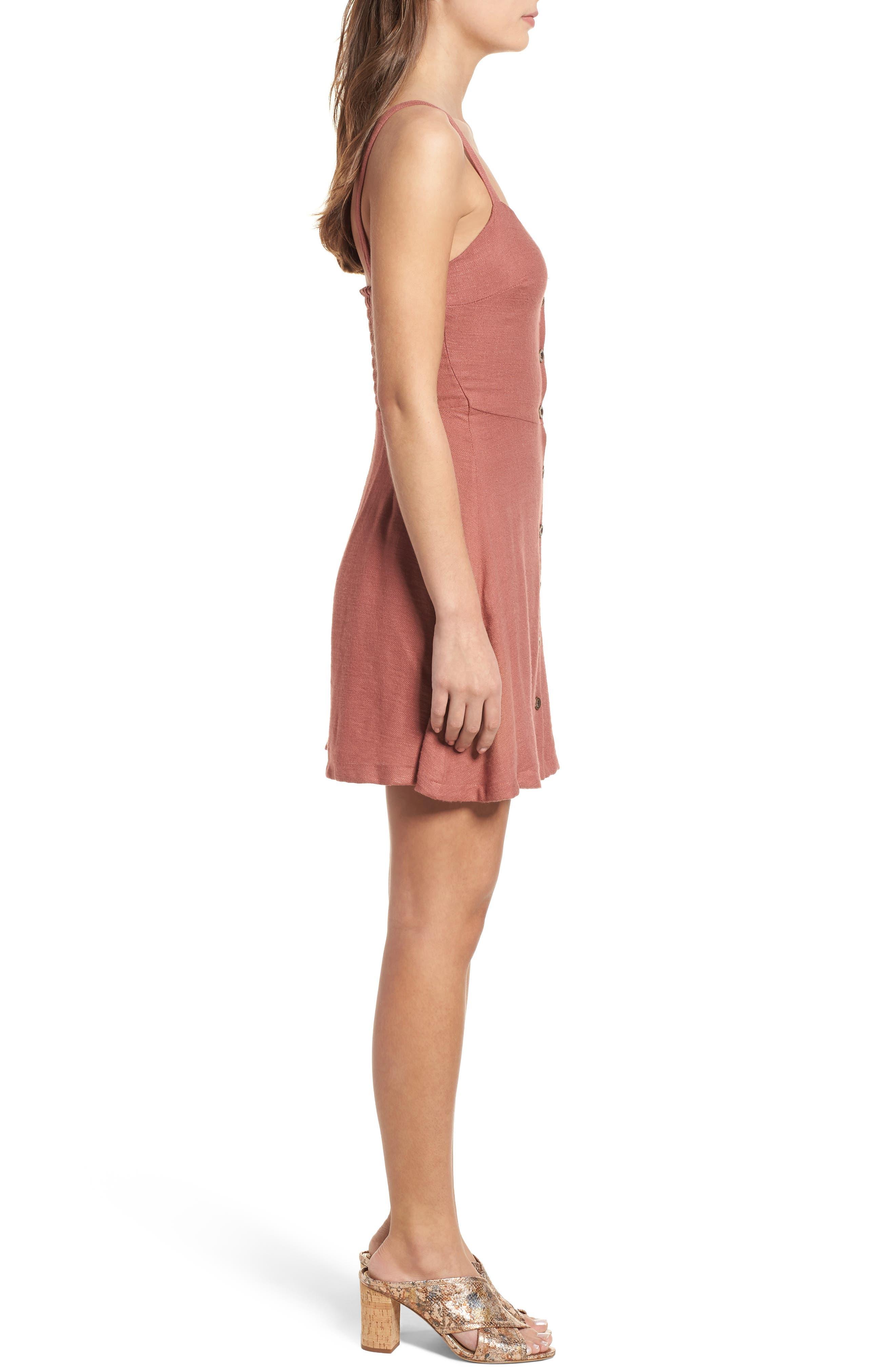Button Front Dress,                             Alternate thumbnail 3, color,                             Coral Cedar