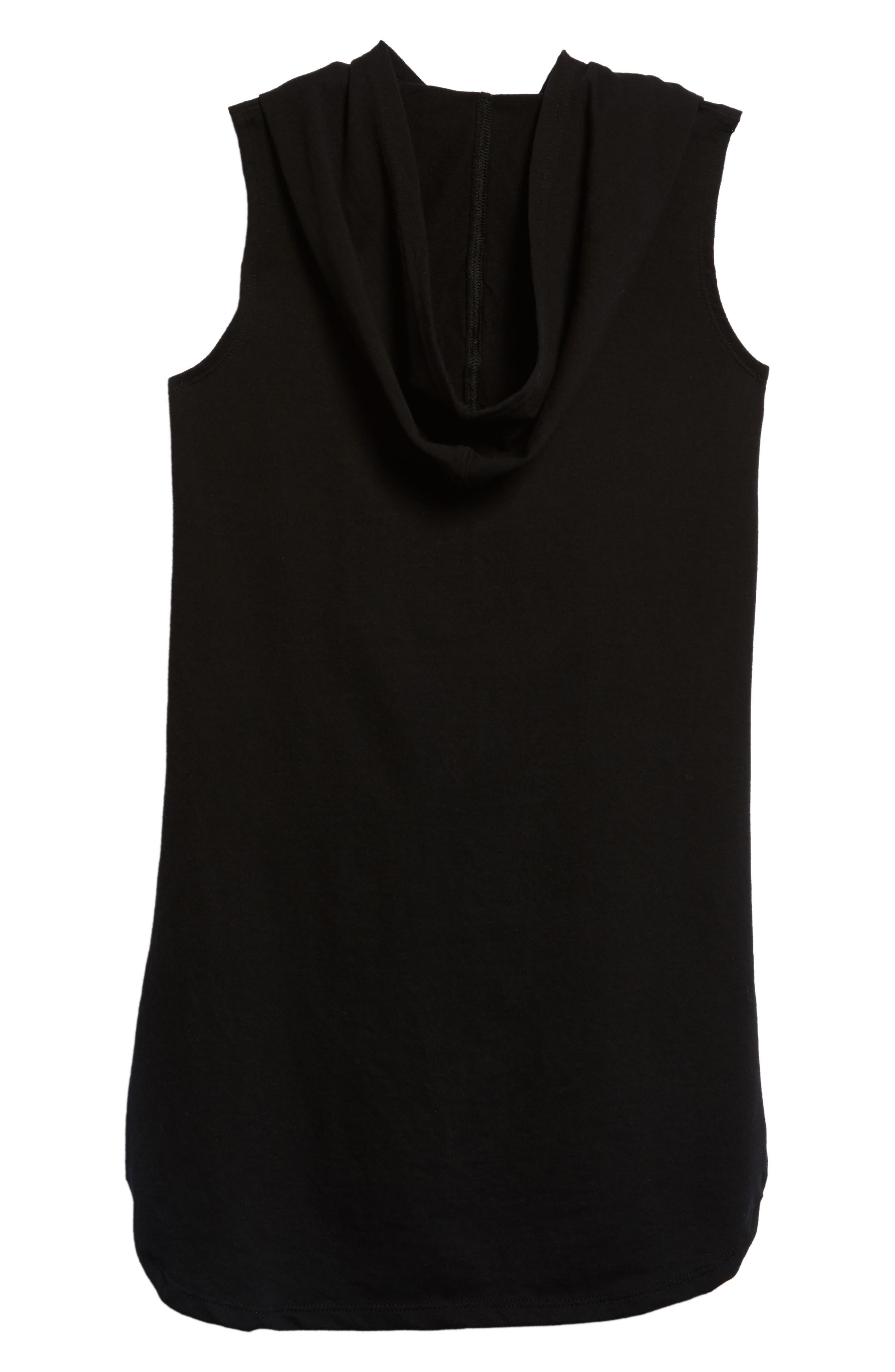Hooded Terry Dress,                             Alternate thumbnail 2, color,                             Black