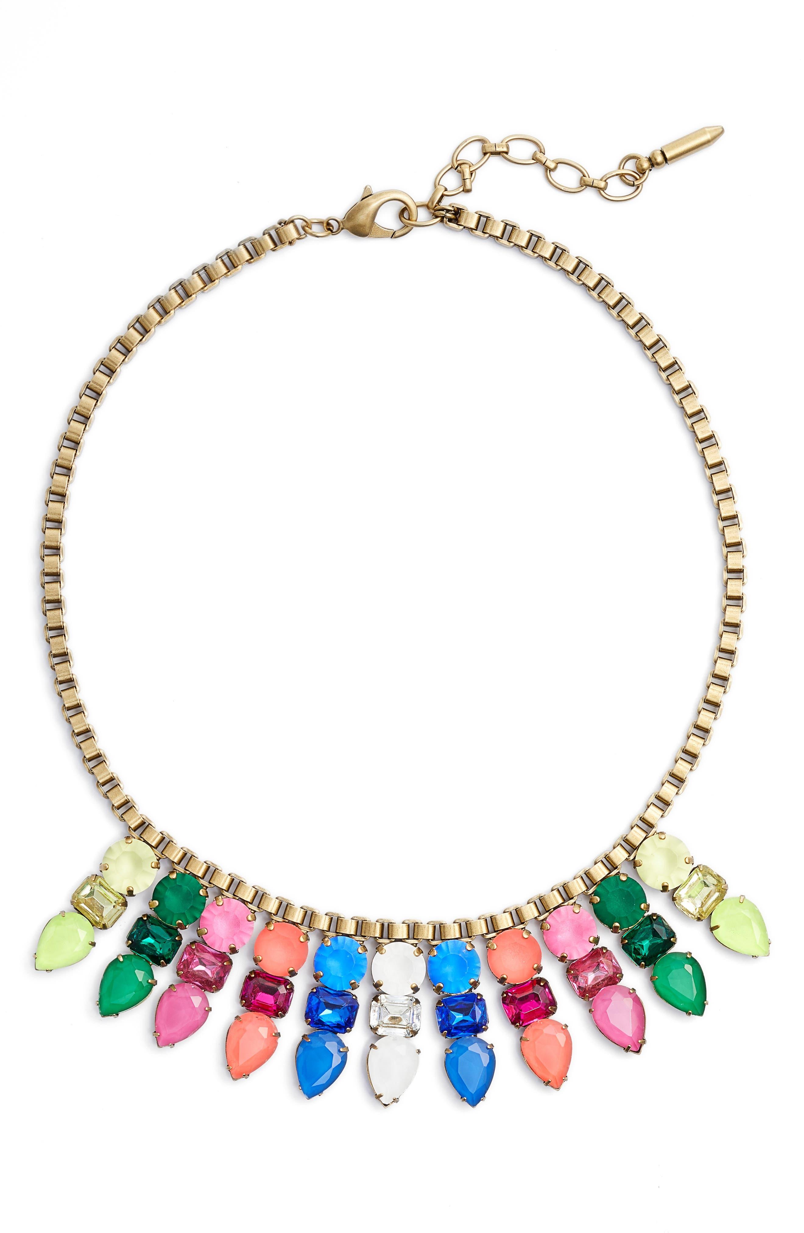 Jewel Bib Necklace,                             Main thumbnail 1, color,                             Spring Multi