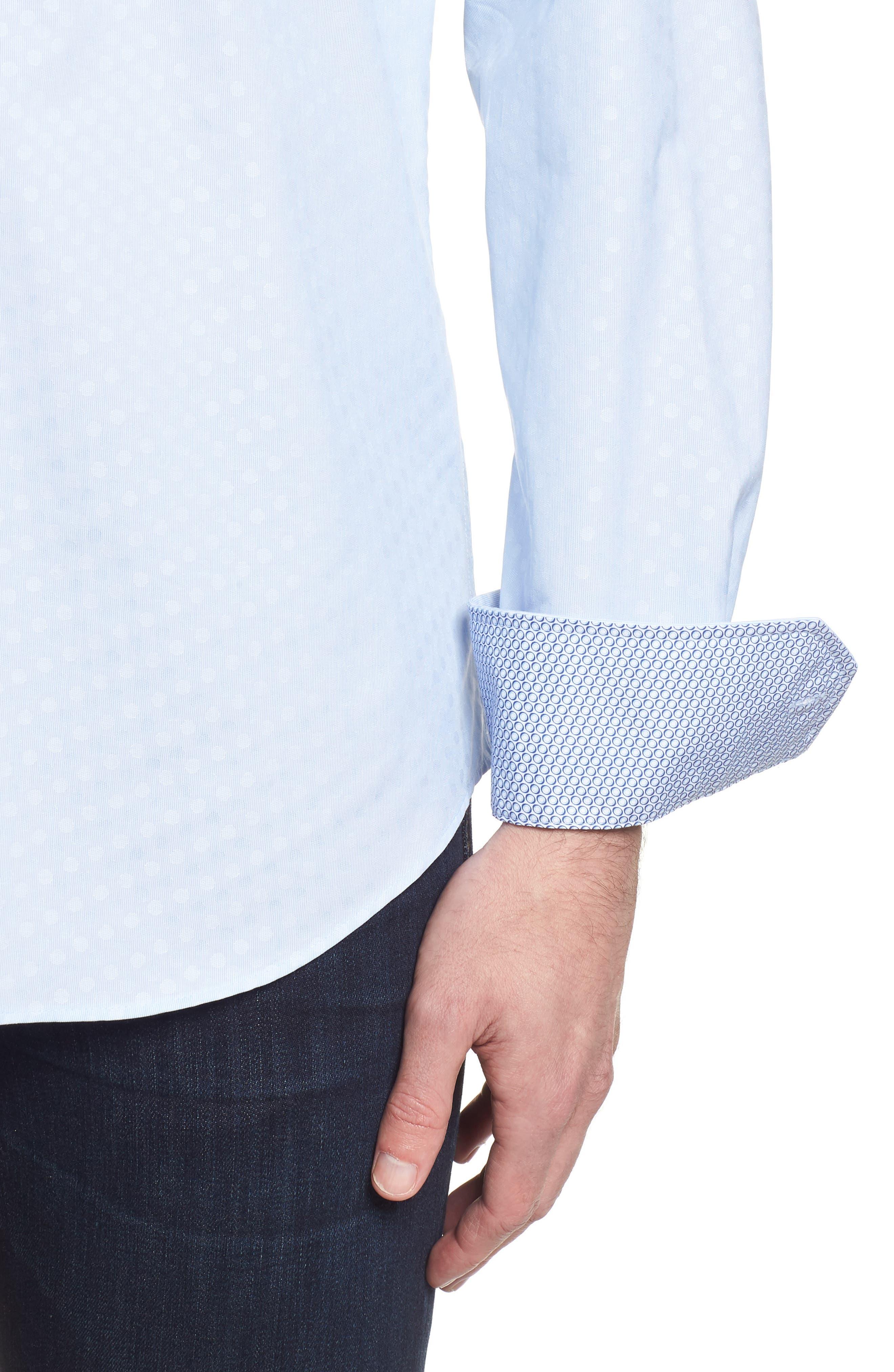 Shaped Fit Tonal Dots Sport Shirt,                             Alternate thumbnail 4, color,                             Sky
