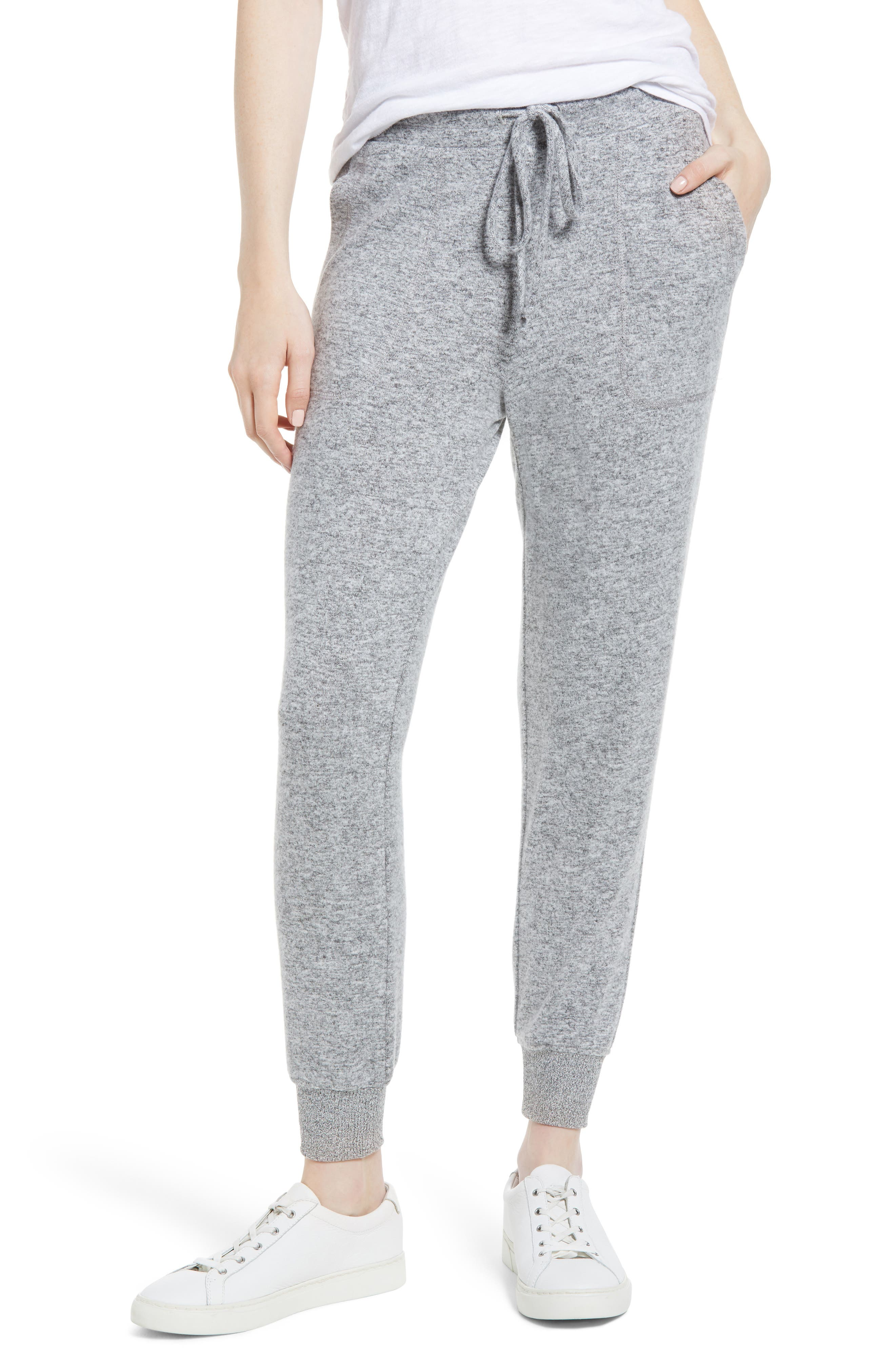 x Living in Yellow Skye Cozy Jogger Pants,                             Main thumbnail 1, color,                             Heather Grey