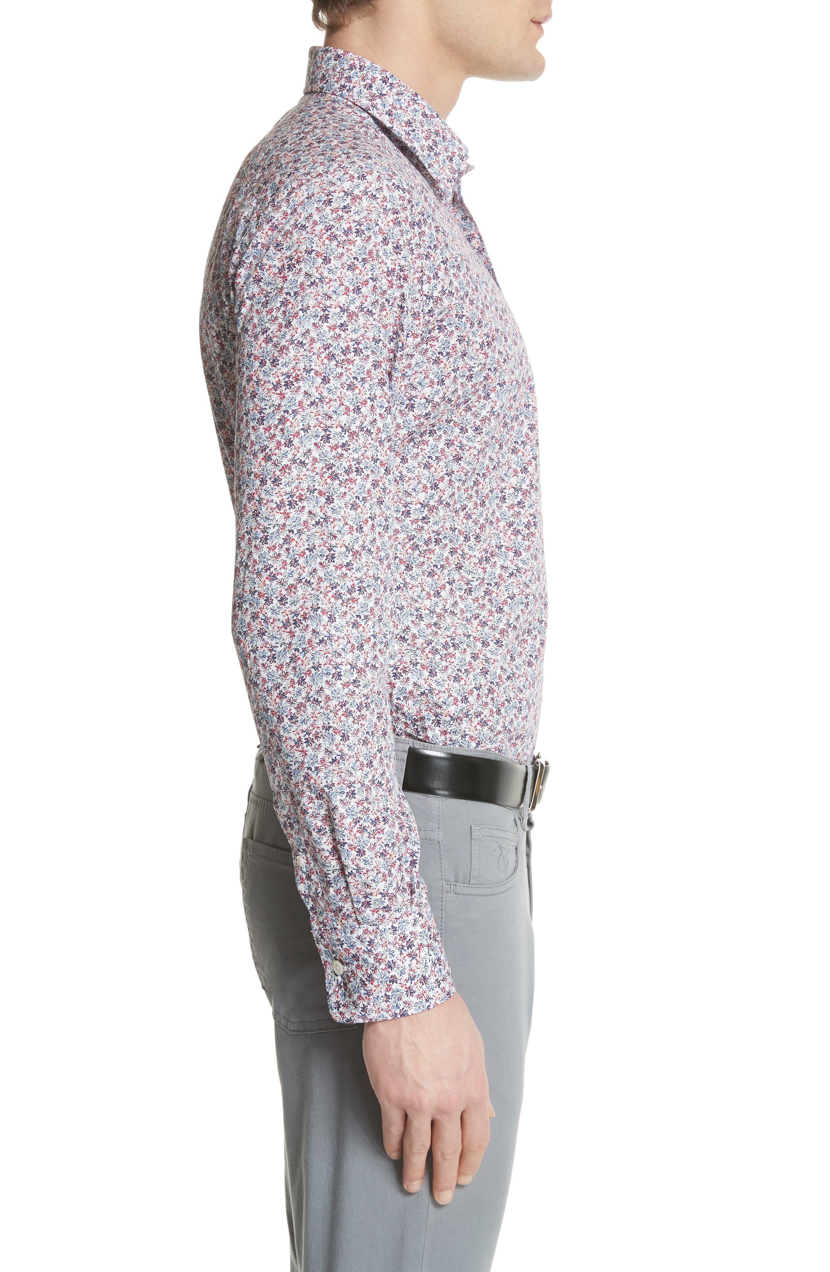 Regular Fit Floral Sport Shirt,                             Alternate thumbnail 3, color,                             White/ Red/ Navy
