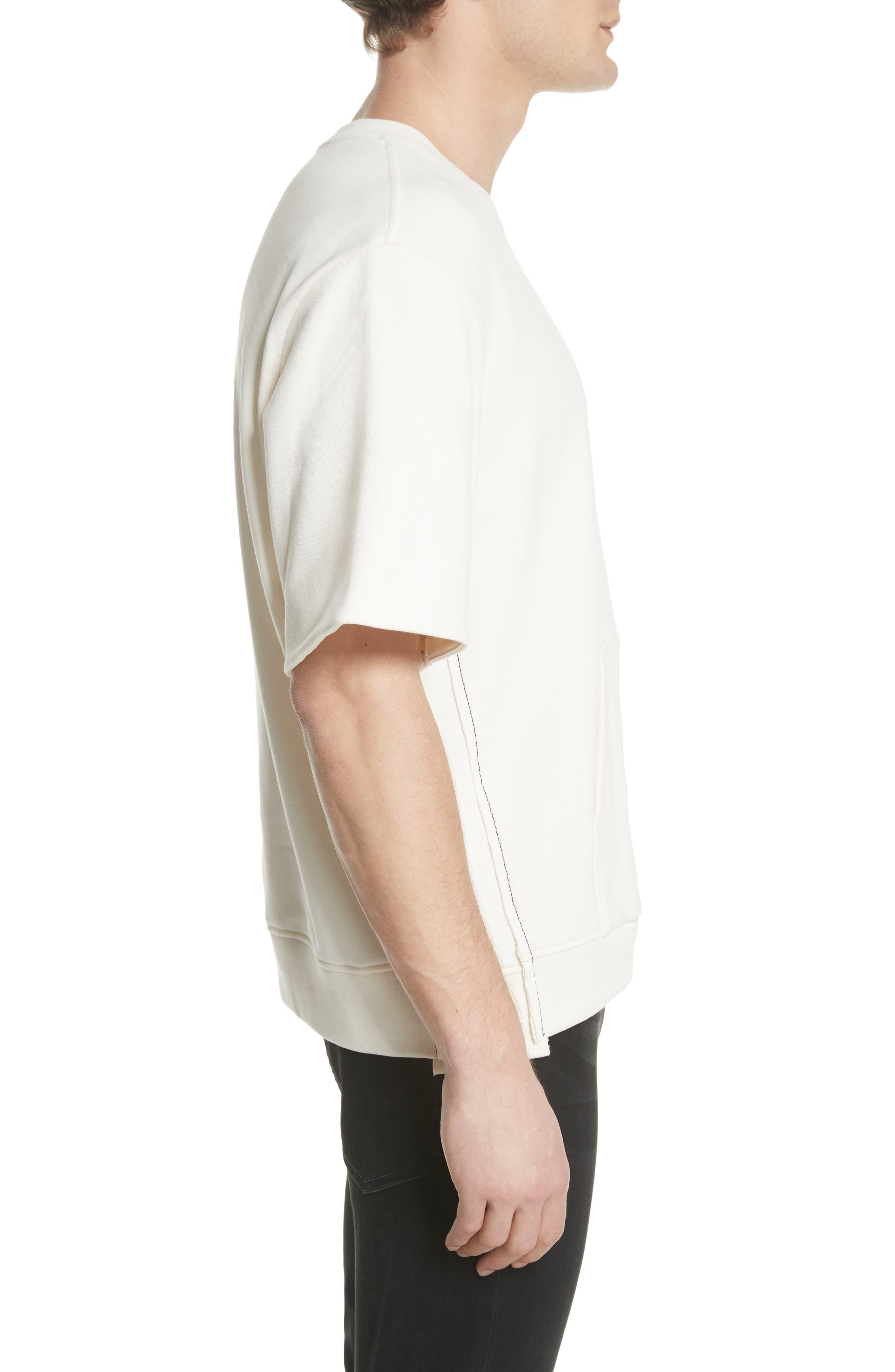 Reconstructed Short Sleeve Sweatshirt,                             Alternate thumbnail 3, color,                             Ecru
