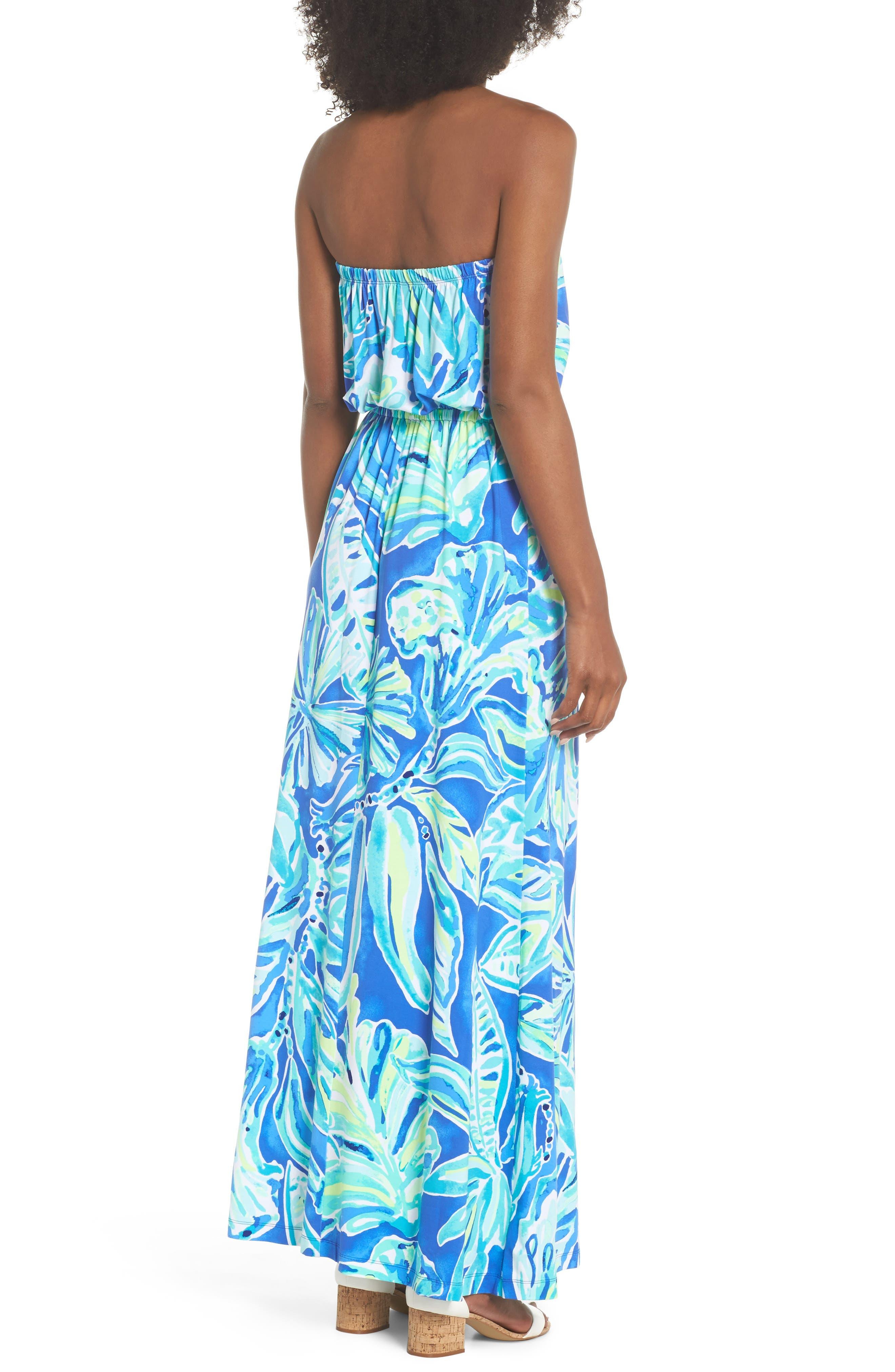 Marlisa Strapless Maxi Dress,                             Alternate thumbnail 2, color,                             Beckon Blue Palm Passage
