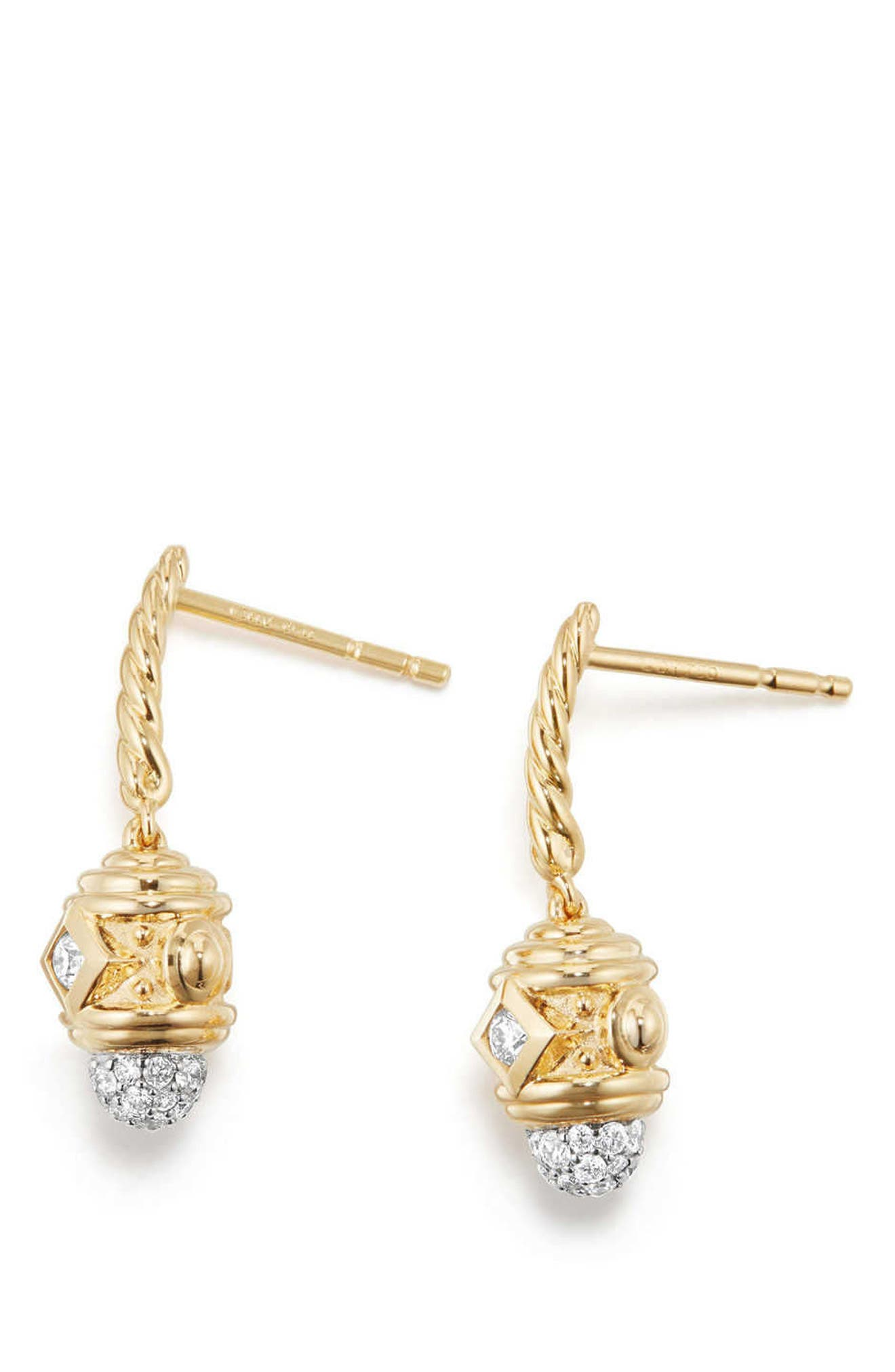 Renaissance Drop Earrings with Diamonds in 18K Gold,                             Alternate thumbnail 2, color,                             Gold/ Diamond