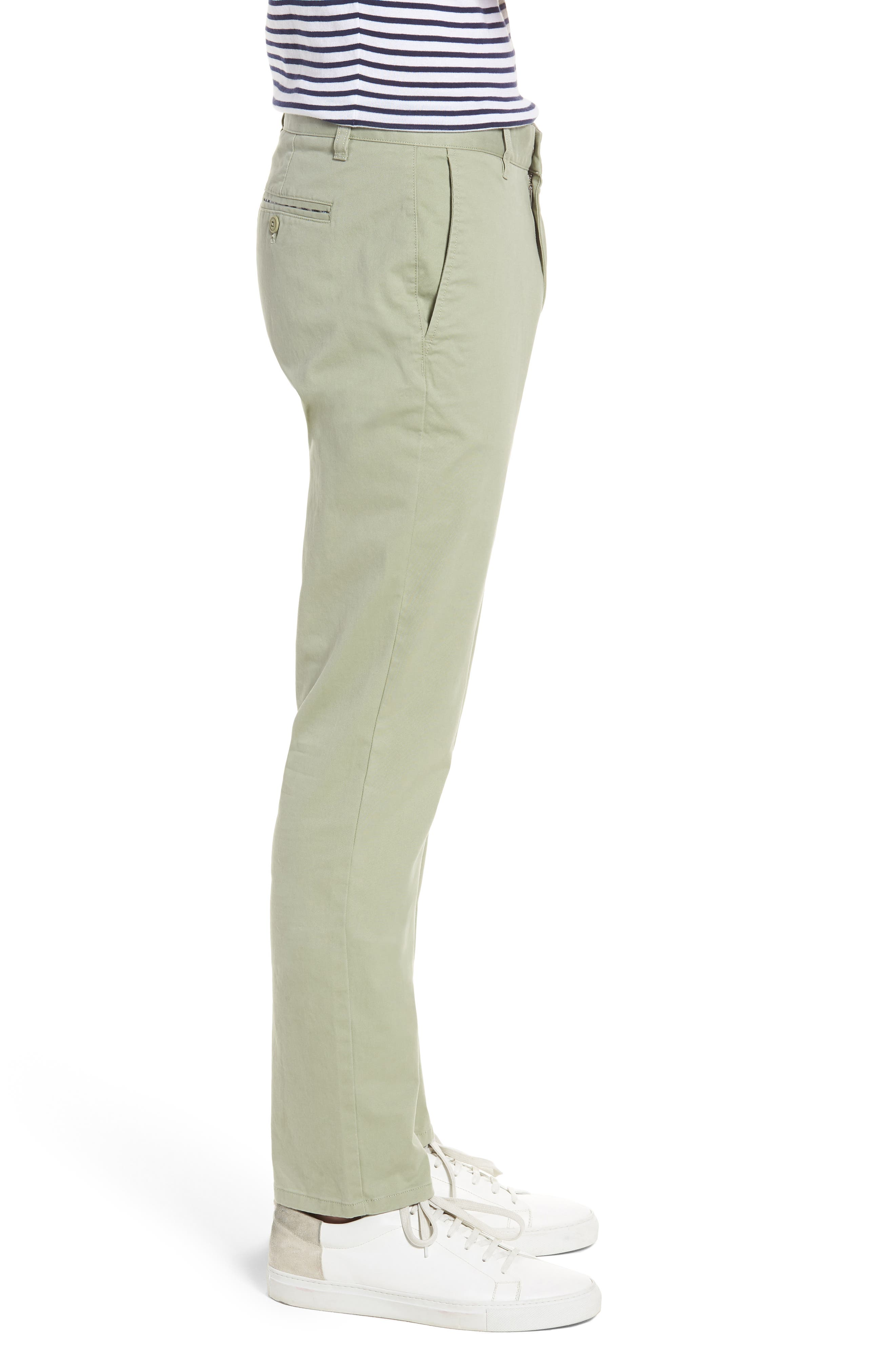 Tailored Fit Washed Stretch Cotton Chinos,                             Alternate thumbnail 3, color,                             Sage Brush