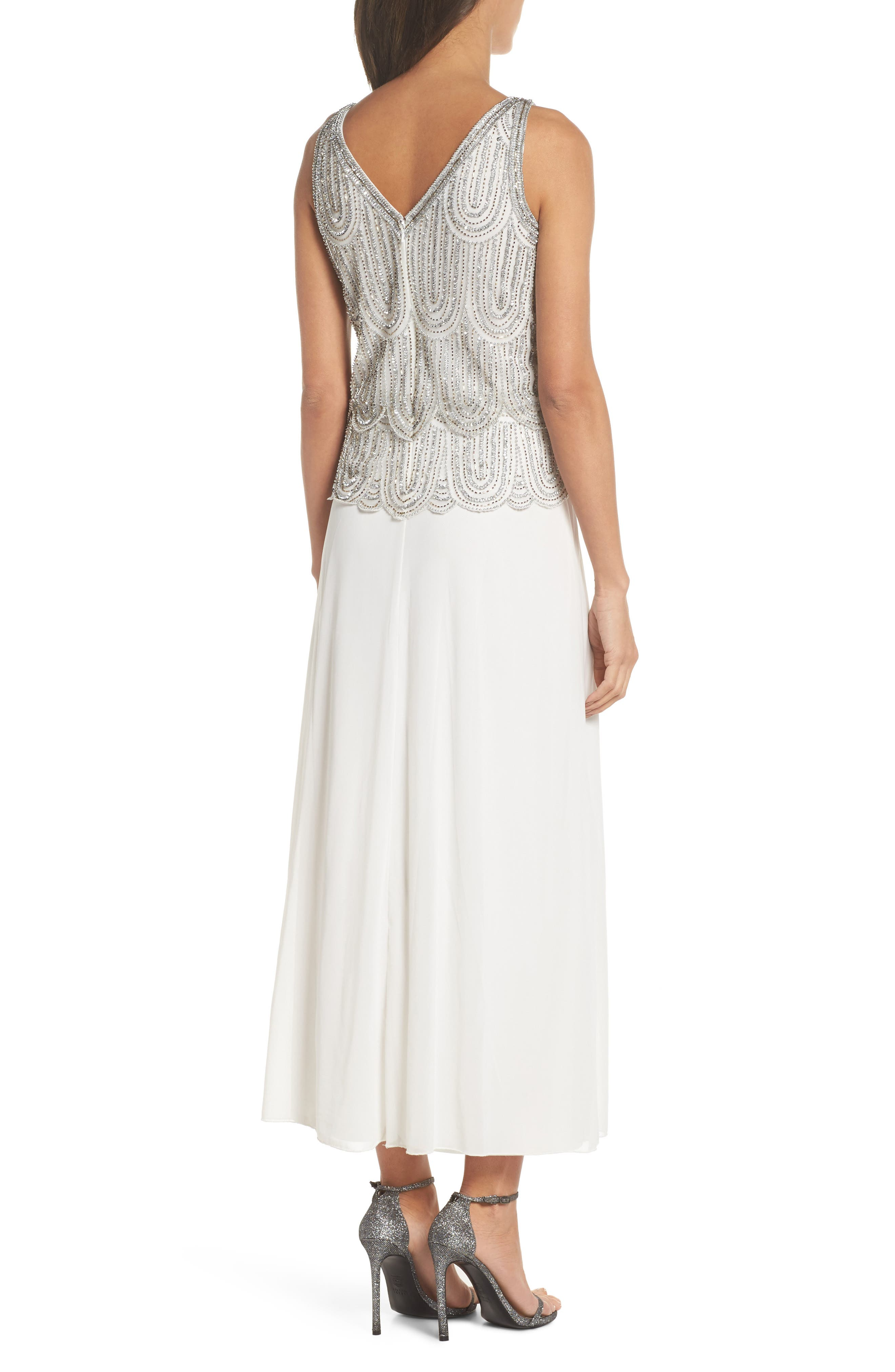 Beaded Mock Two-Piece A-Line Gown,                             Alternate thumbnail 2, color,                             Ivory