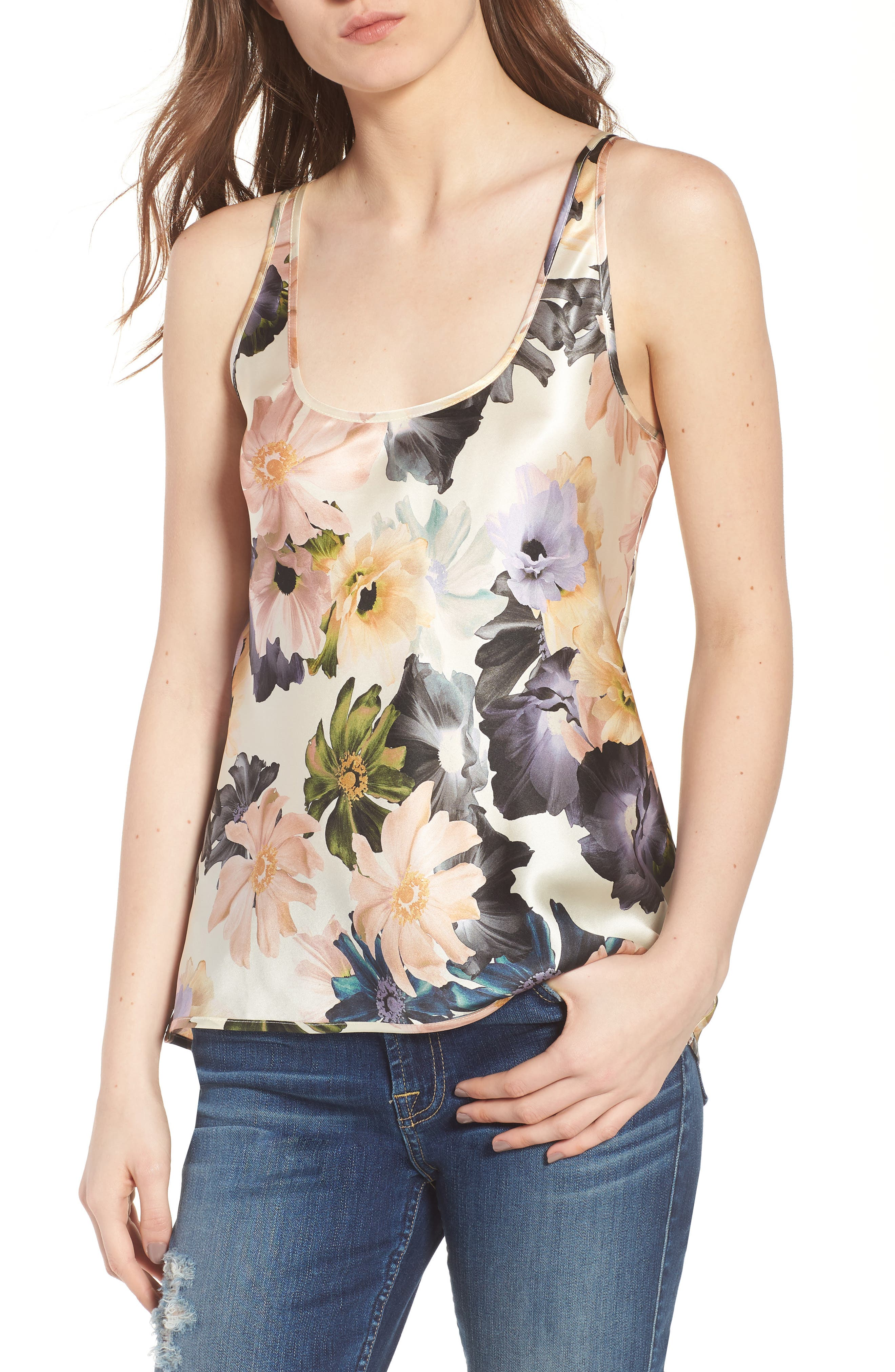 Silk Tank,                         Main,                         color, Desert Garden Print