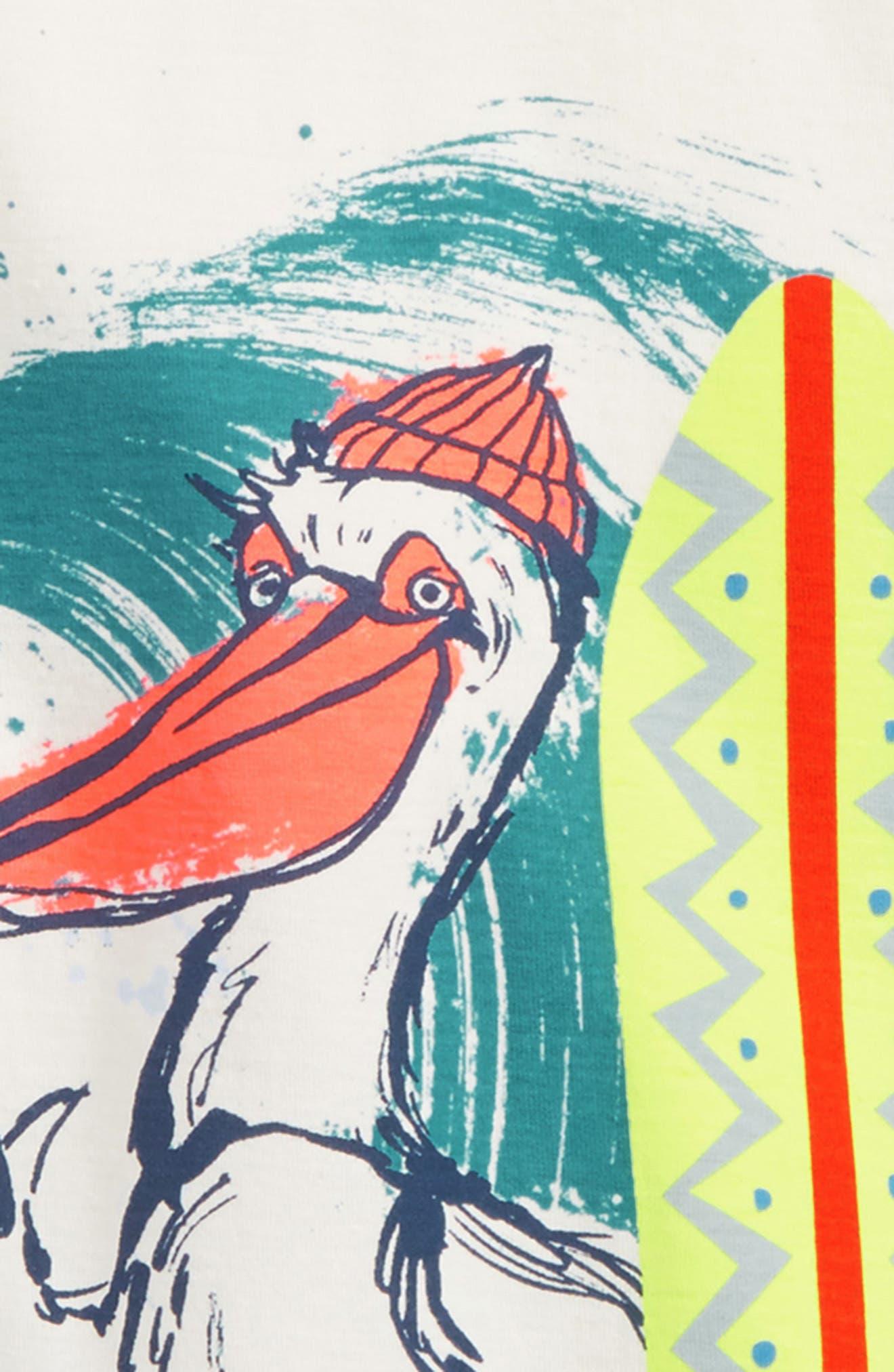 Surfing Pelican Graphic T-Shirt,                             Alternate thumbnail 2, color,                             Chalk