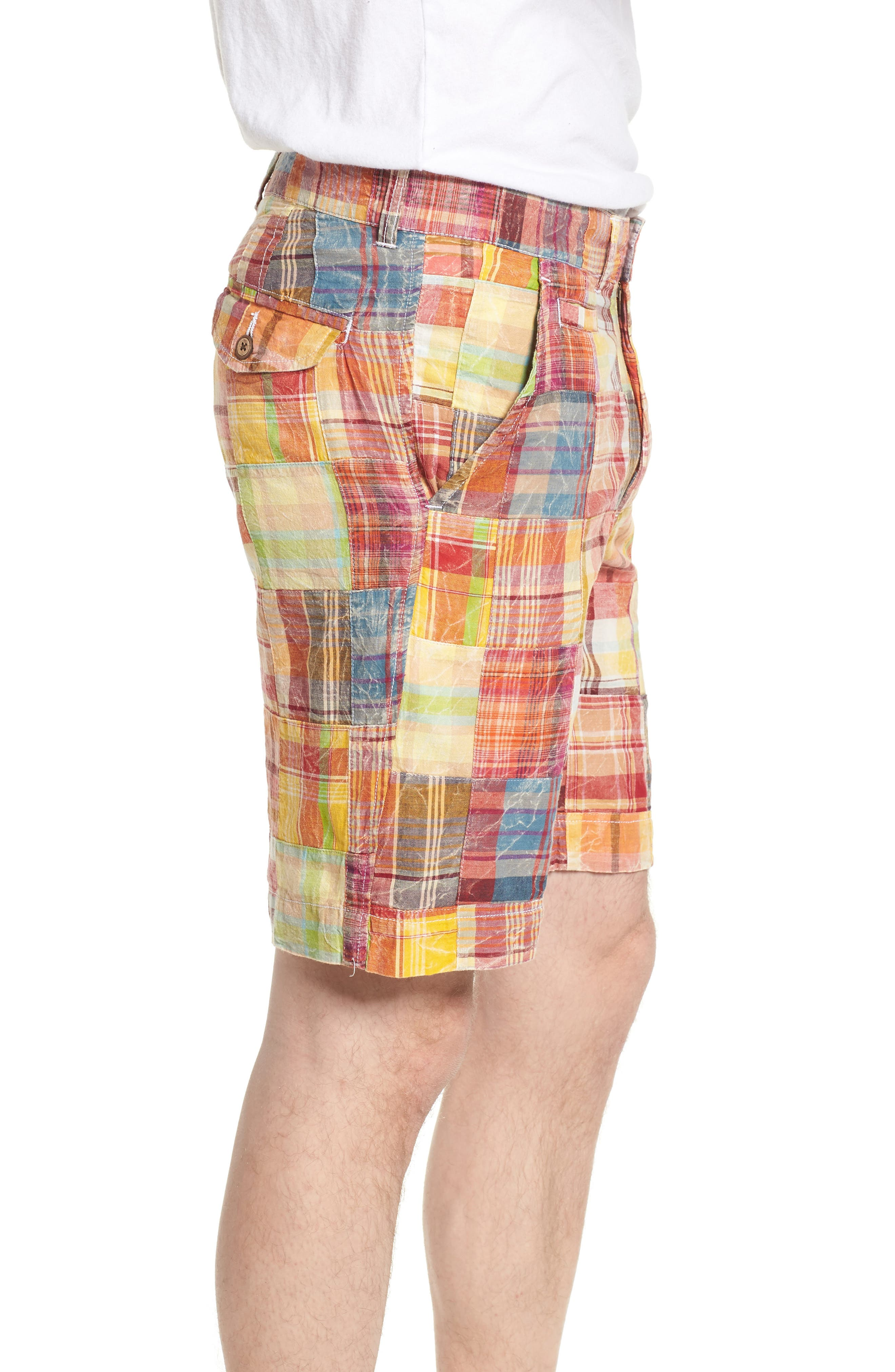 Acid Wash Plaid Patchwork Shorts,                             Alternate thumbnail 3, color,                             Orange