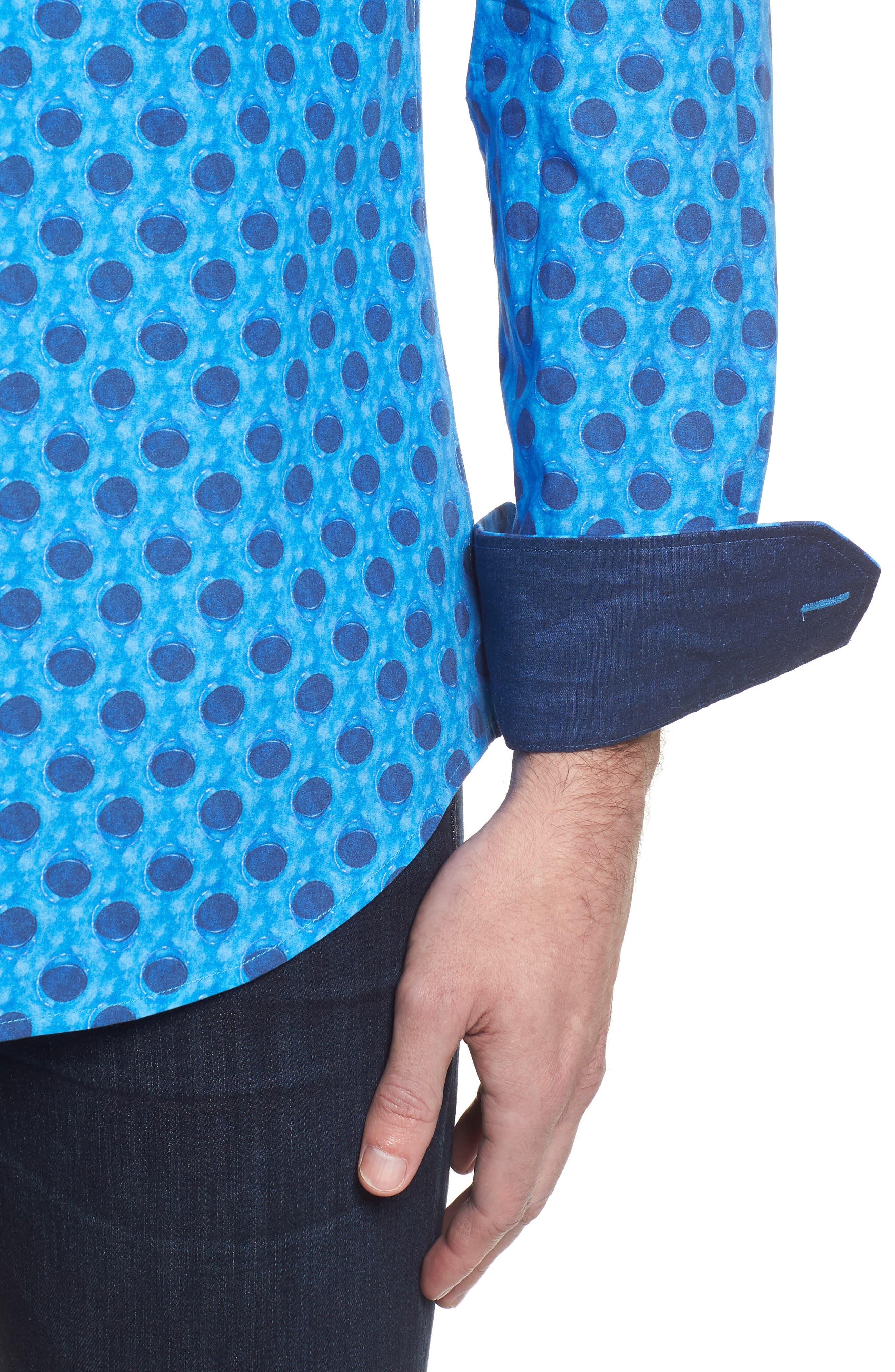Shaped Fit Waning Moon Print Sport Shirt,                             Alternate thumbnail 4, color,                             Cobalt