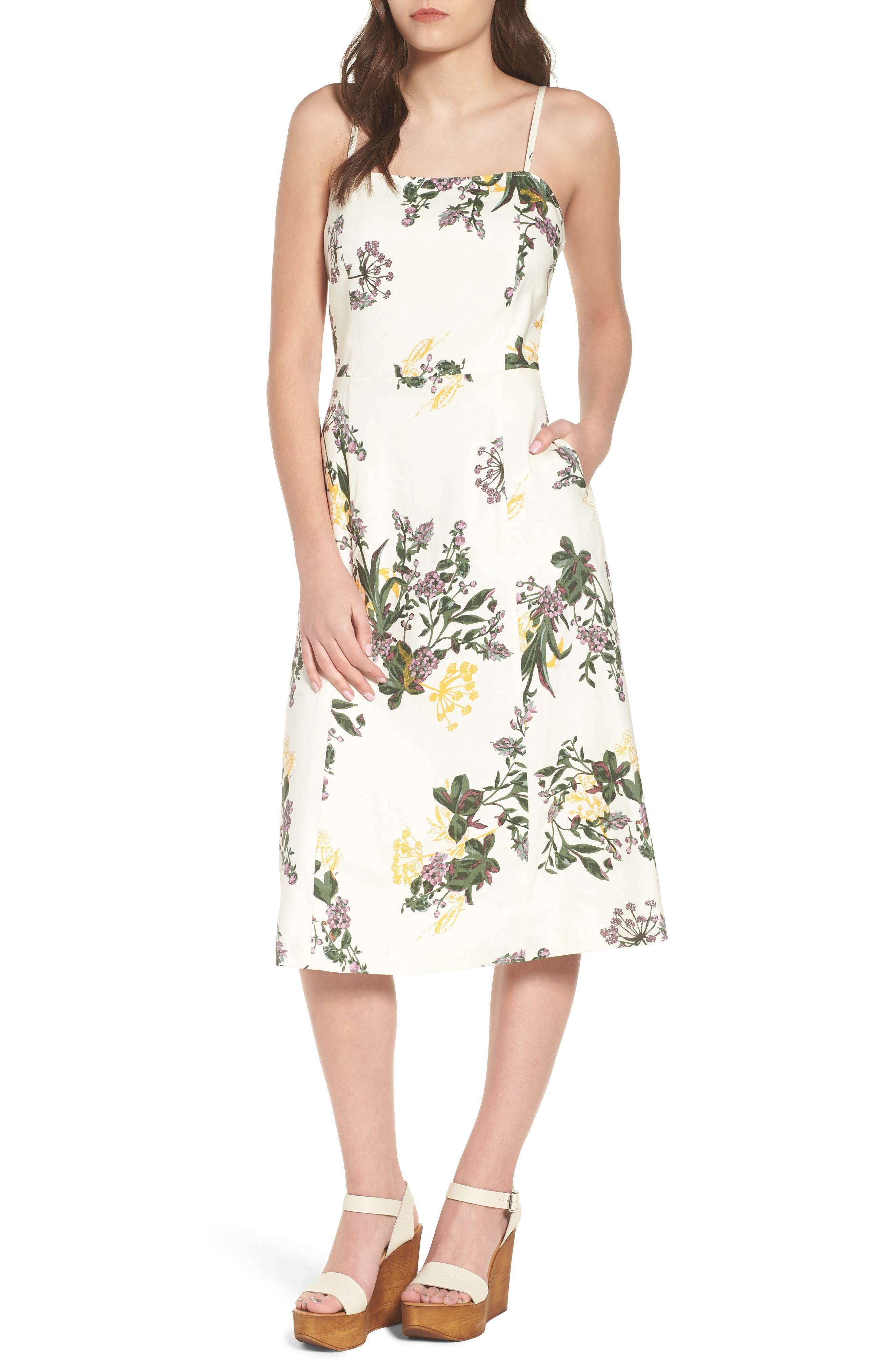Floral Print Midi Dress,                         Main,                         color, Ivory Ghost Floral