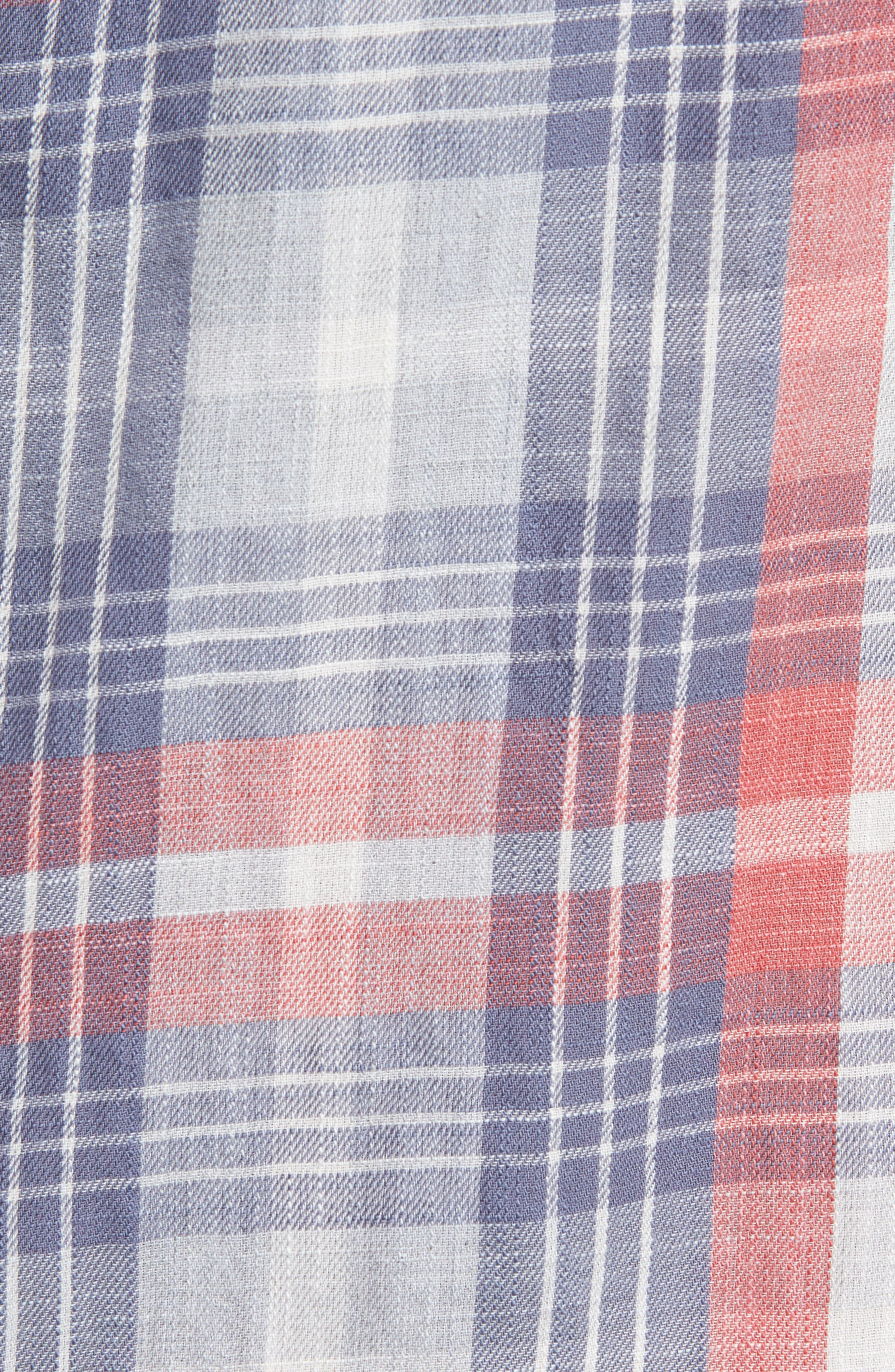 Reynolds Short Sleeve Sport Shirt,                             Alternate thumbnail 5, color,                             Red Gray Plaid