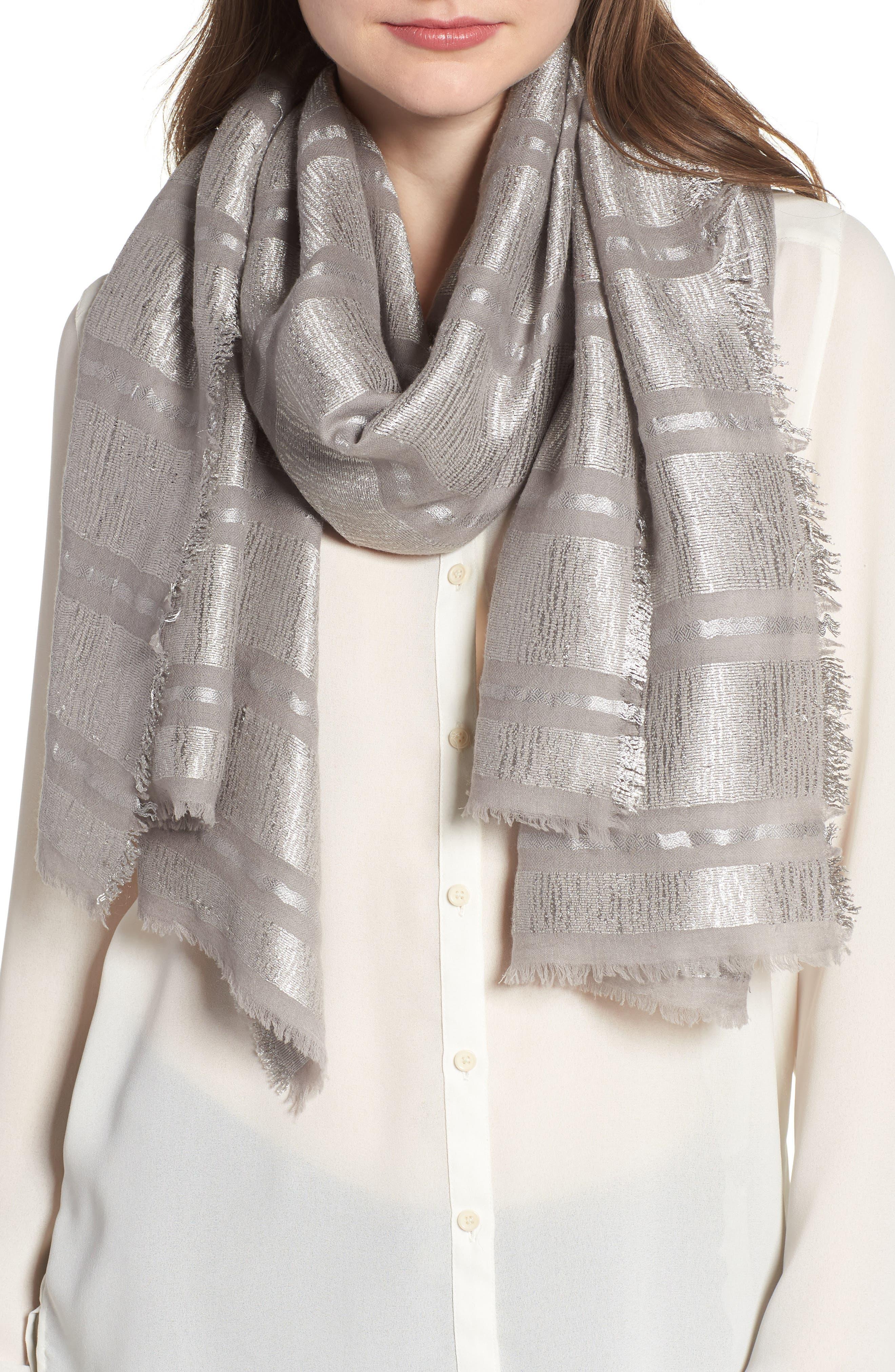 Metallic Stripe Scarf,                         Main,                         color, Grey