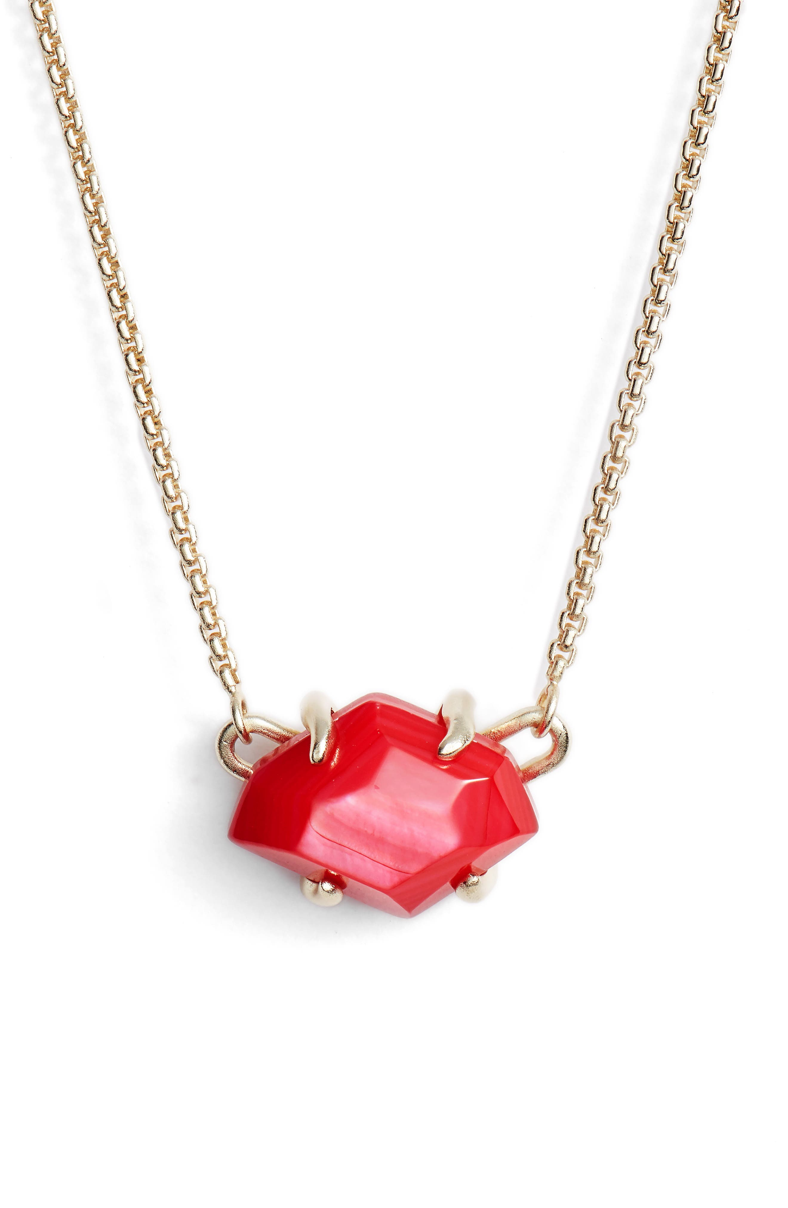 Ethan Pendant Necklace,                         Main,                         color, Red Mop/ Gold