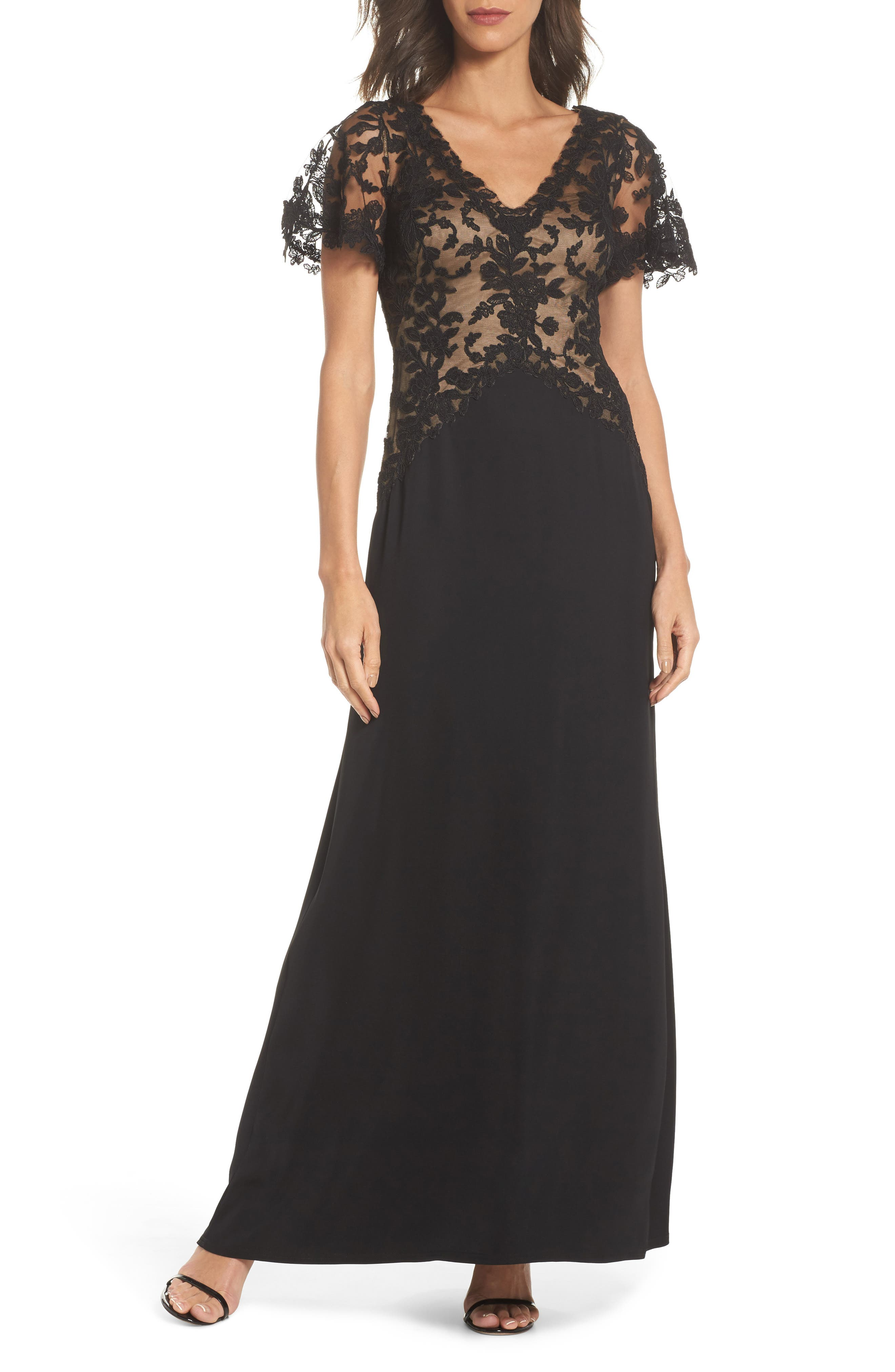 Lace & Crepe Gown,                             Main thumbnail 1, color,                             Black Nude