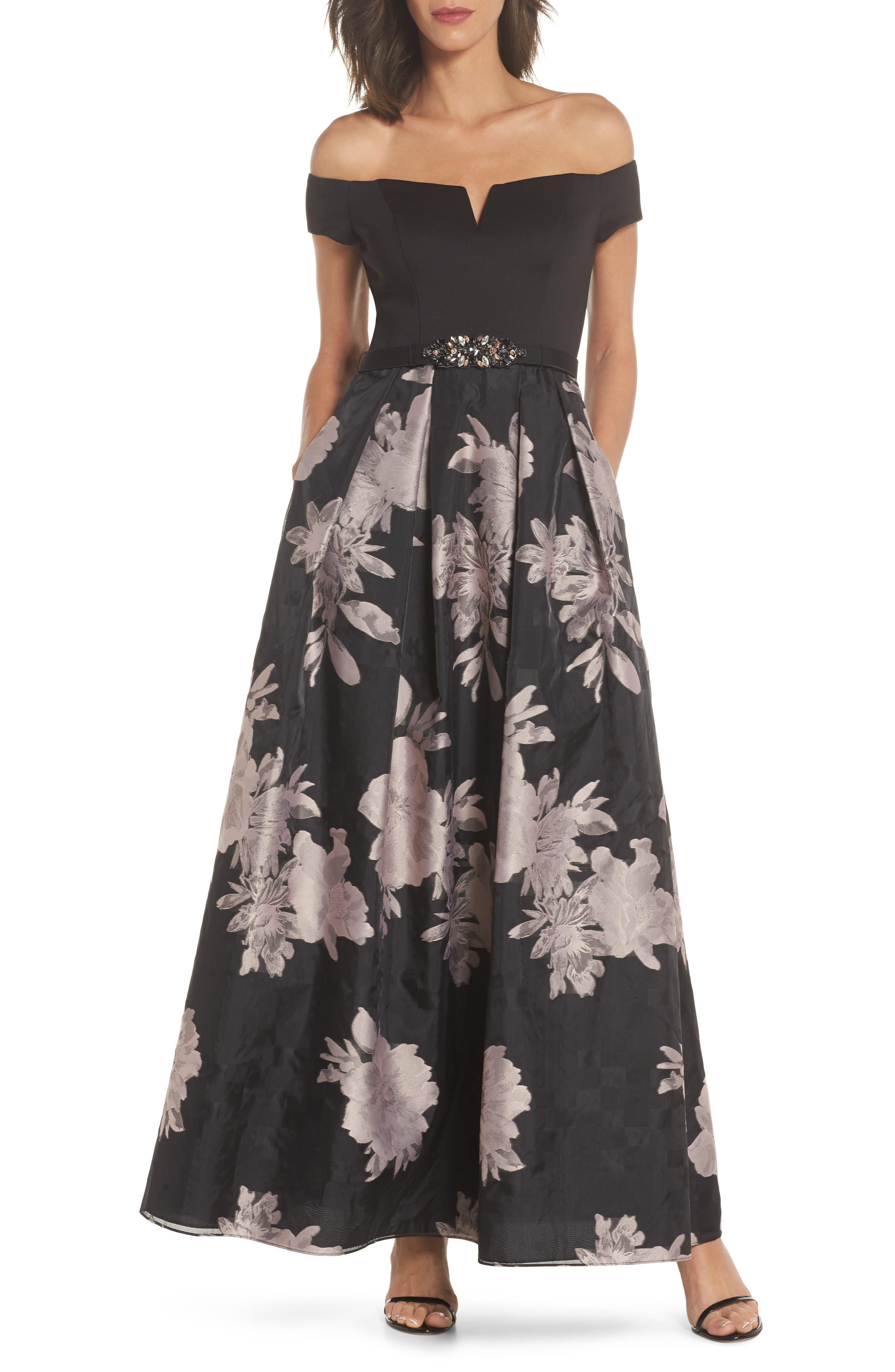 Off the Shoulder Ballgown,                         Main,                         color, Black Blush