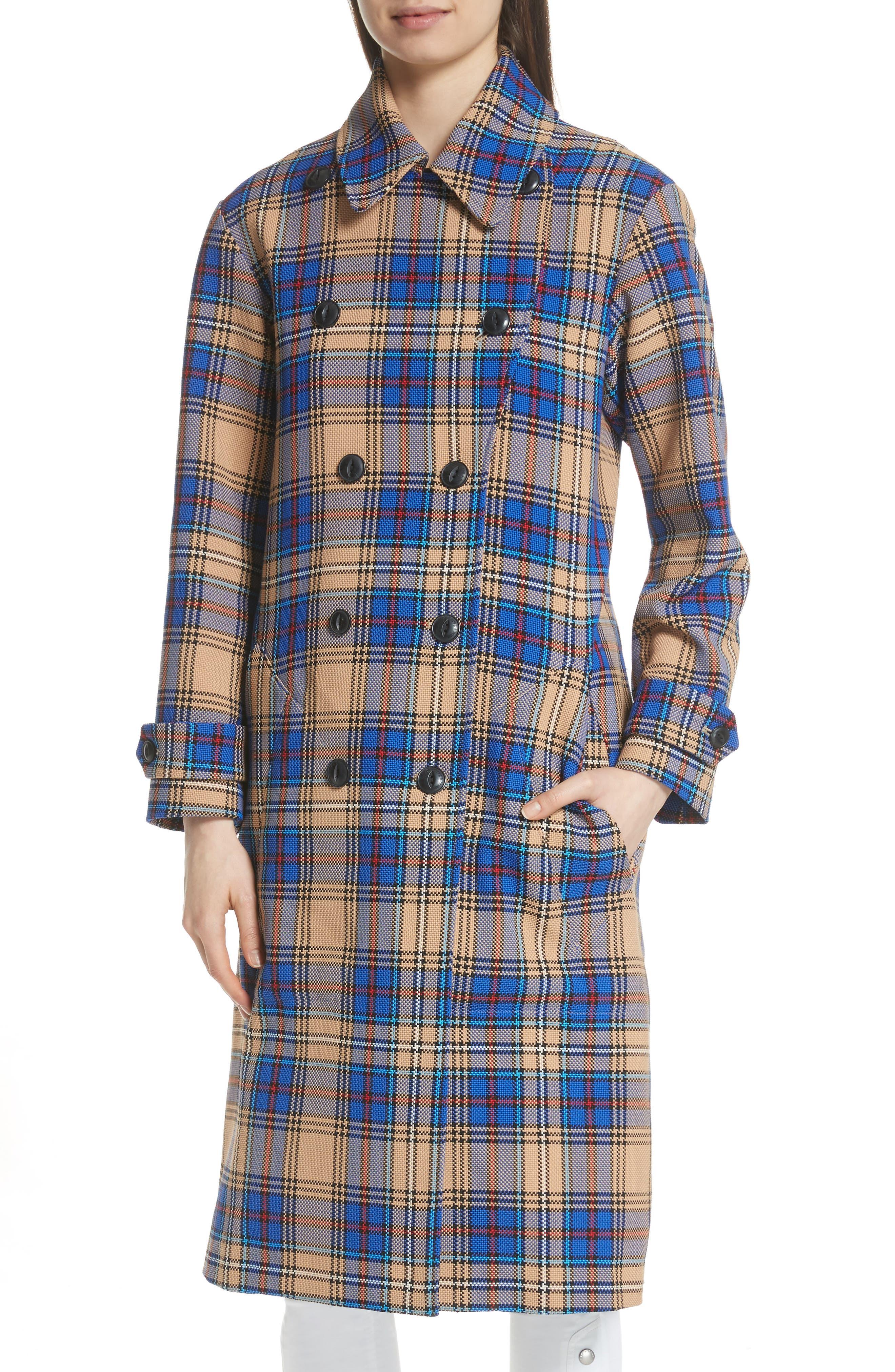 Ace Plaid Trench Coat,                             Alternate thumbnail 4, color,                             Blue Plaid