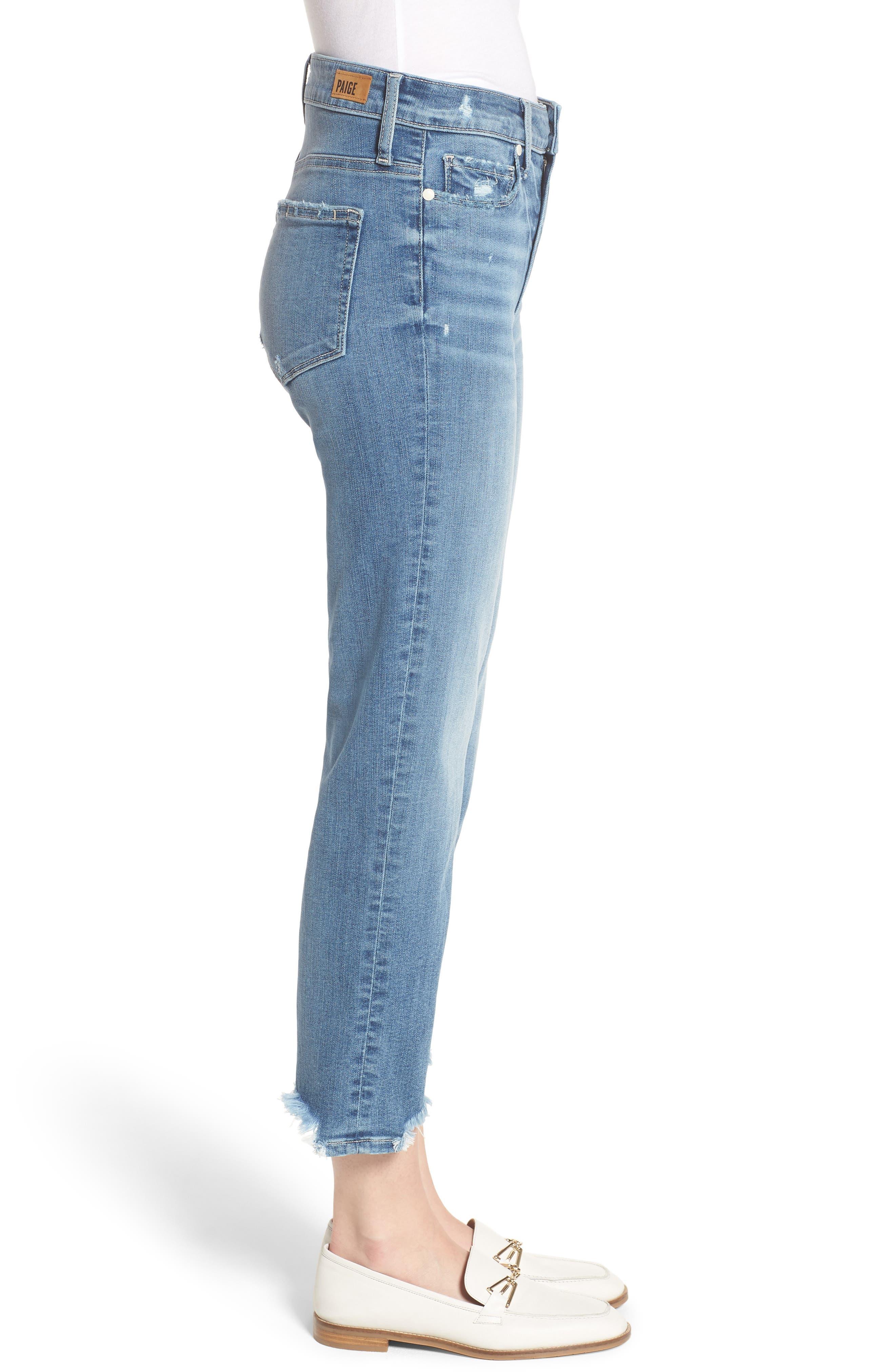 Transcend Vintage - Hoxton High Waist Crop Straight Leg Jeans,                             Alternate thumbnail 3, color,                             Zahara