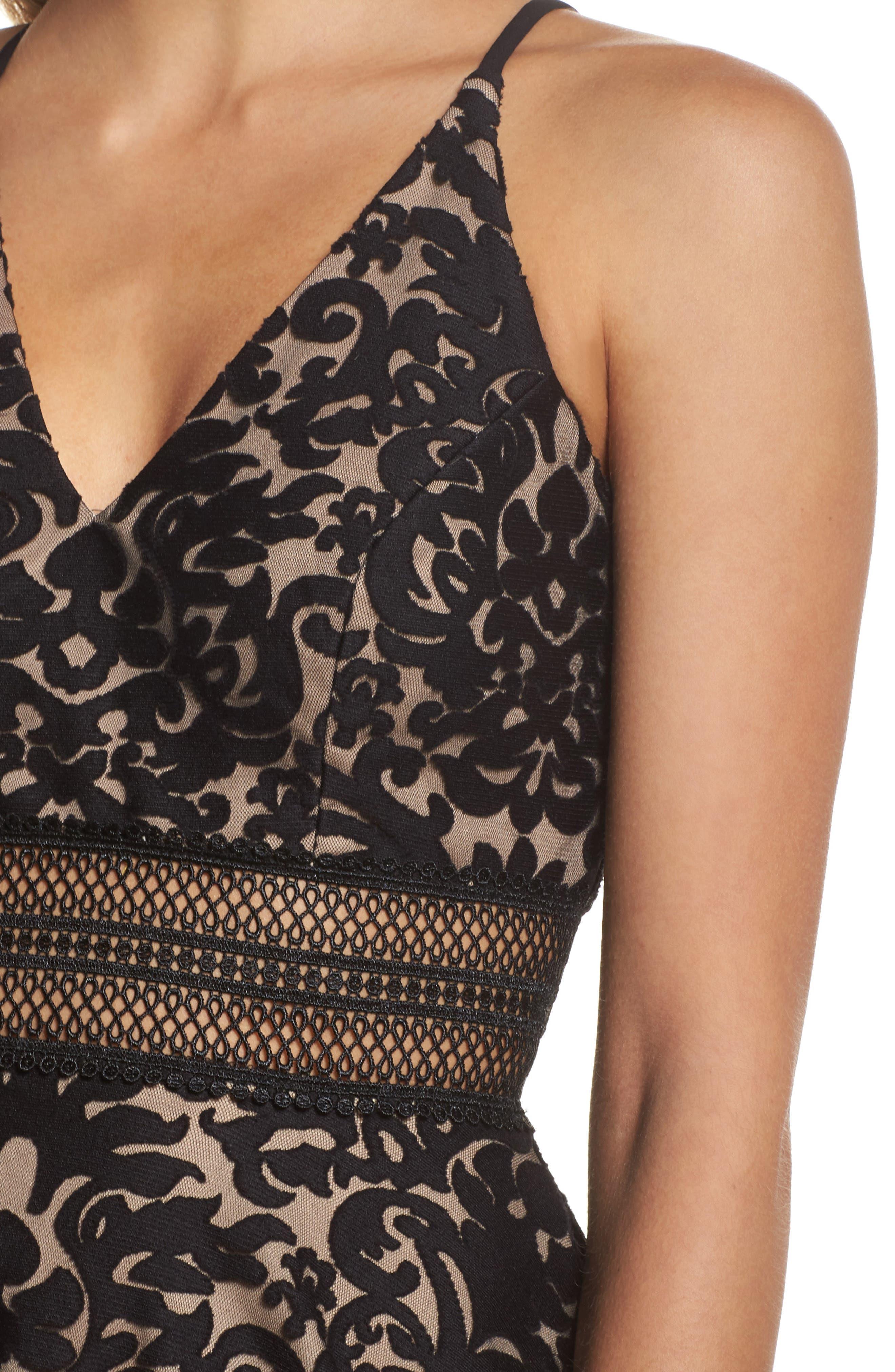 Lace Fit & Flare Dress,                             Alternate thumbnail 4, color,                             Black/ Nude