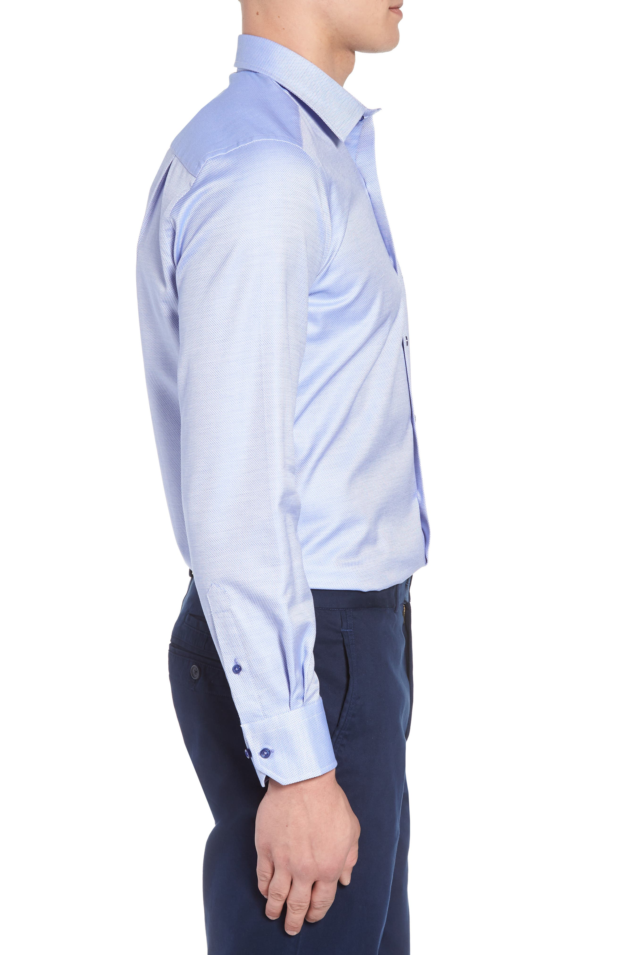 Micro Diamond Regular Fit Sport Shirt,                             Alternate thumbnail 3, color,                             Blue