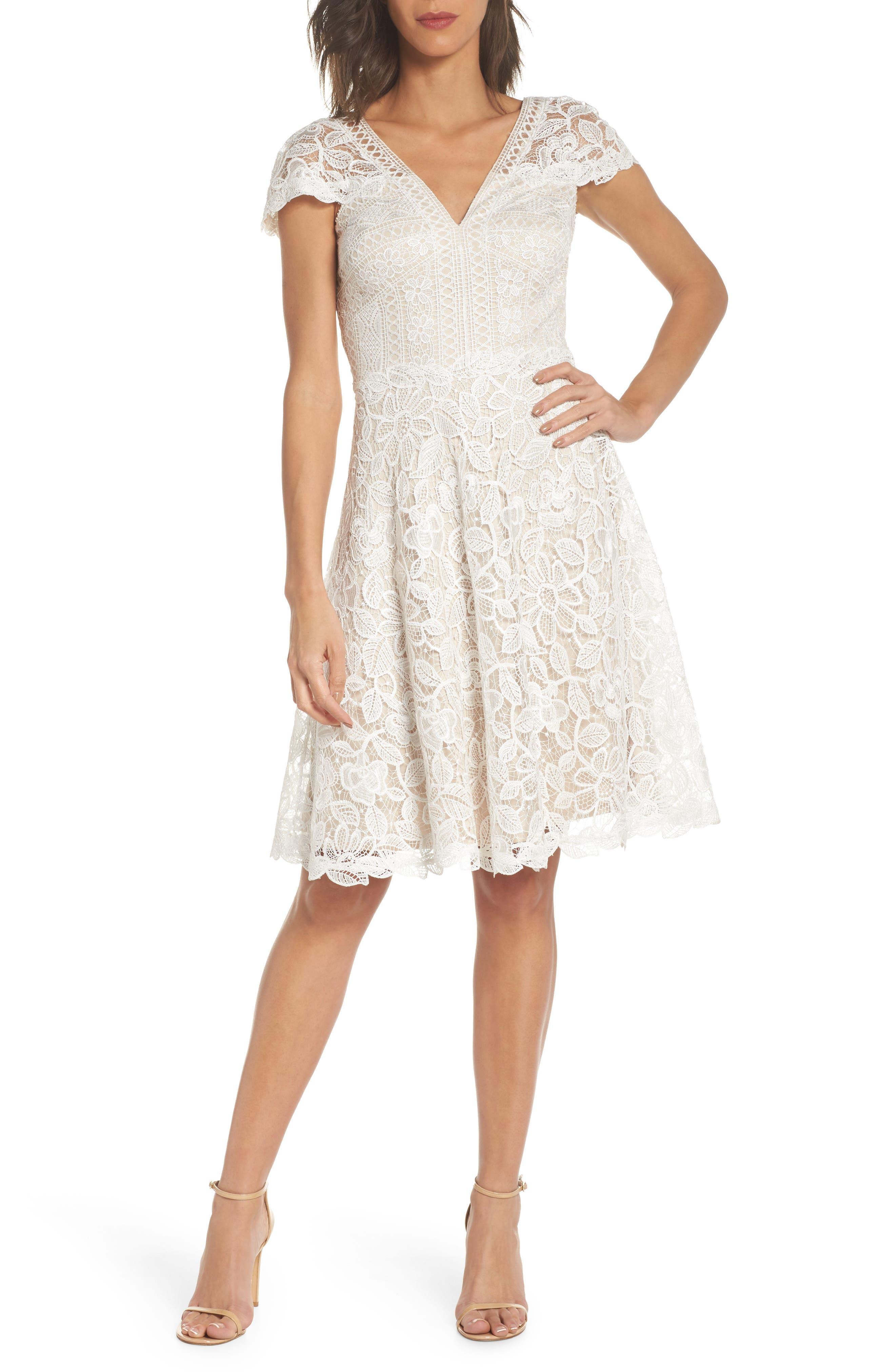 Mixed Lace Fit & Flare Dress,                             Main thumbnail 1, color,                             White/ Natural