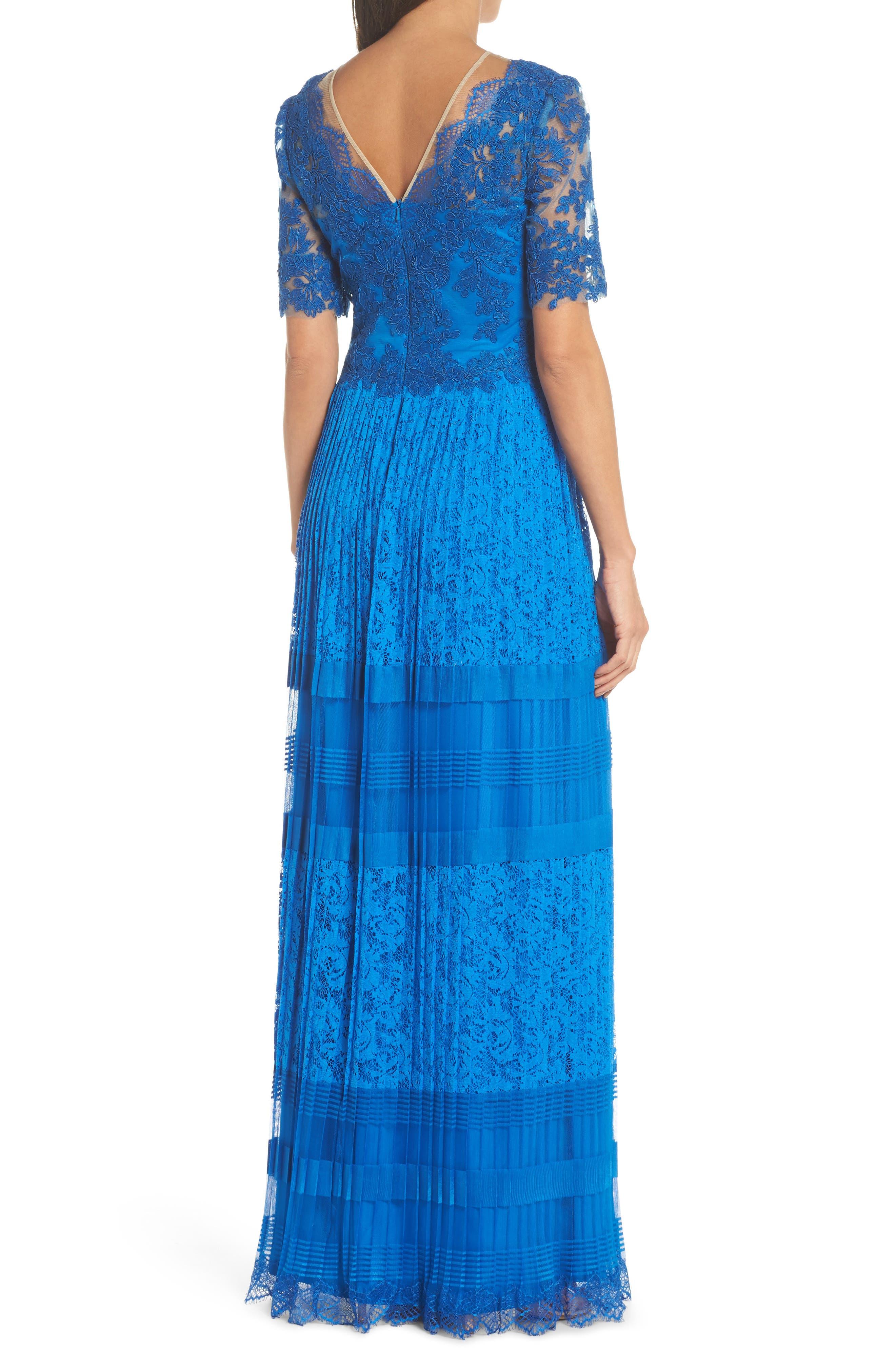 Pleat Lace Gown,                             Alternate thumbnail 2, color,                             Azure