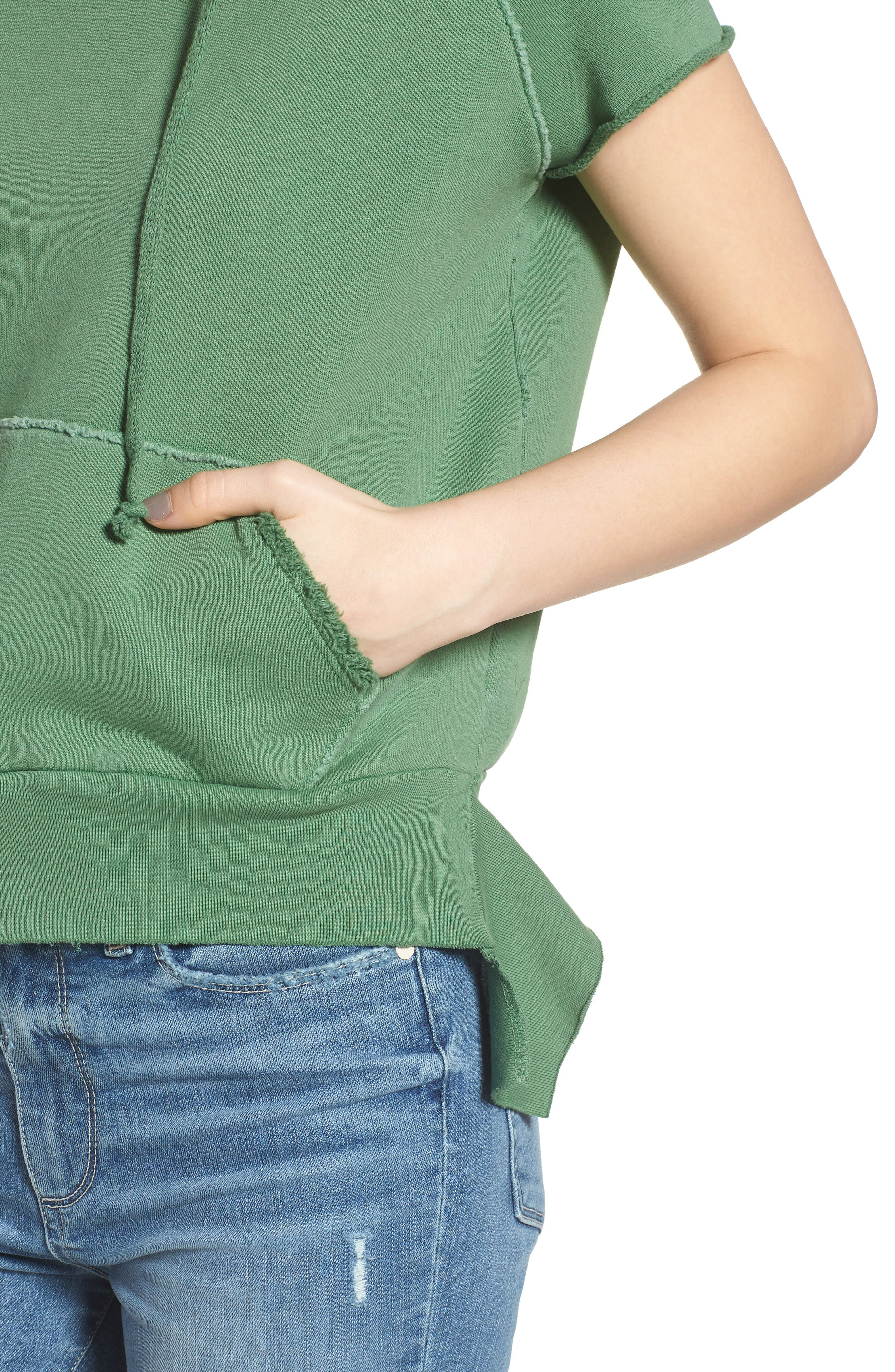 Short Sleeve Pullover Hoodie,                             Alternate thumbnail 4, color,                             Envied 5 Year Vintage Wash