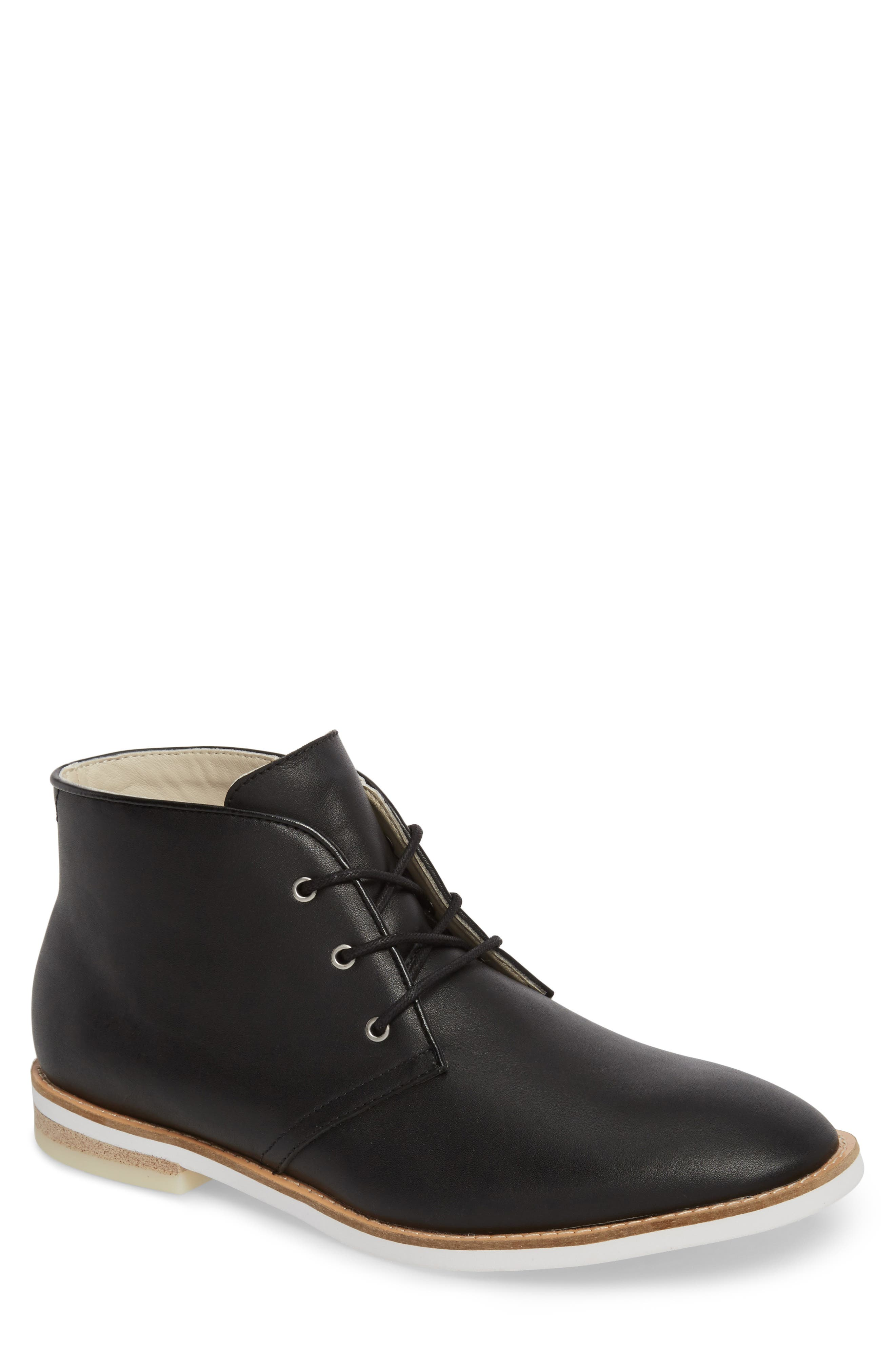Albe Chukka Boot,                         Main,                         color, Black Leather