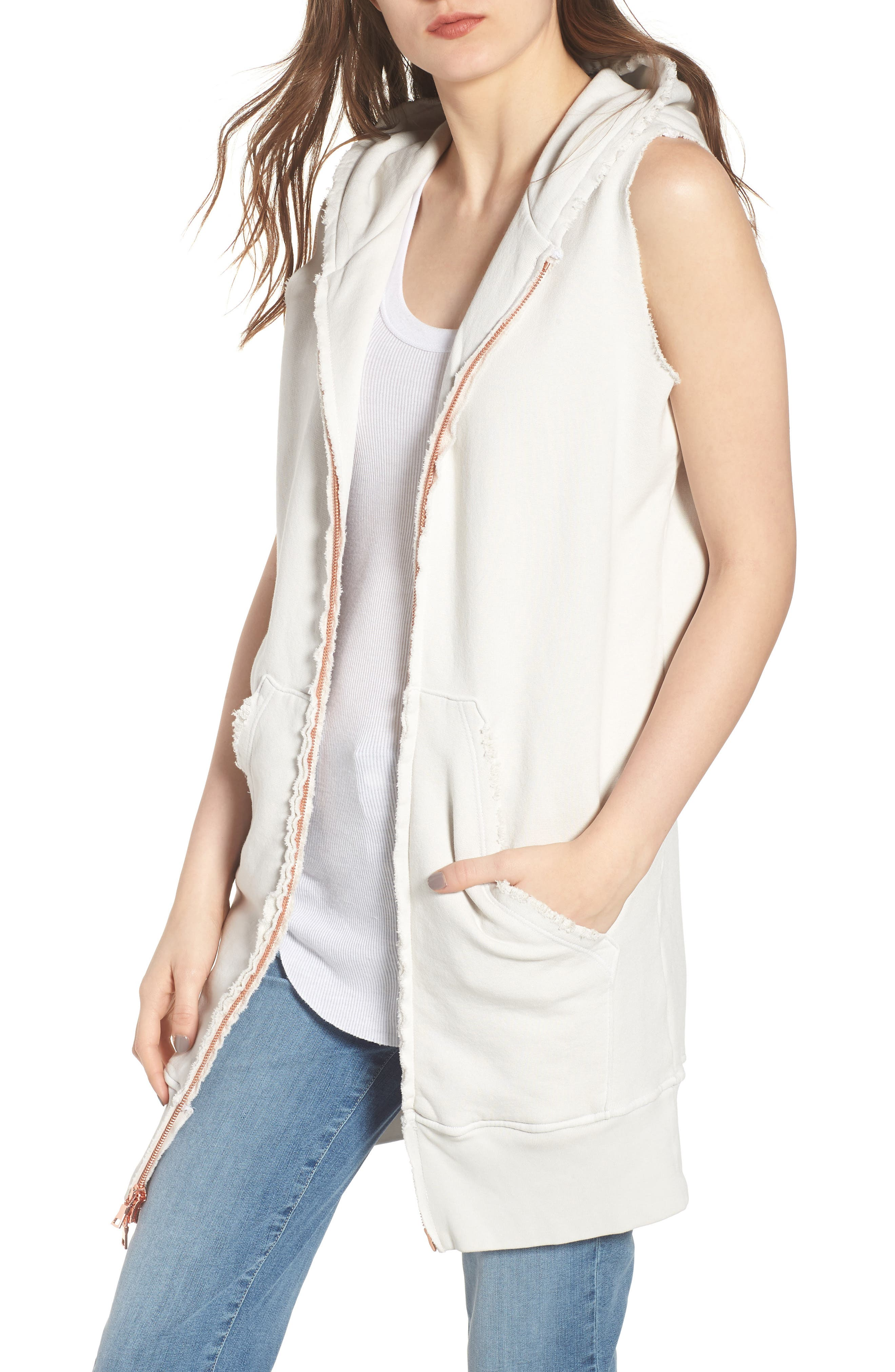 Long Double Zip Hoodie,                         Main,                         color, Vintage White