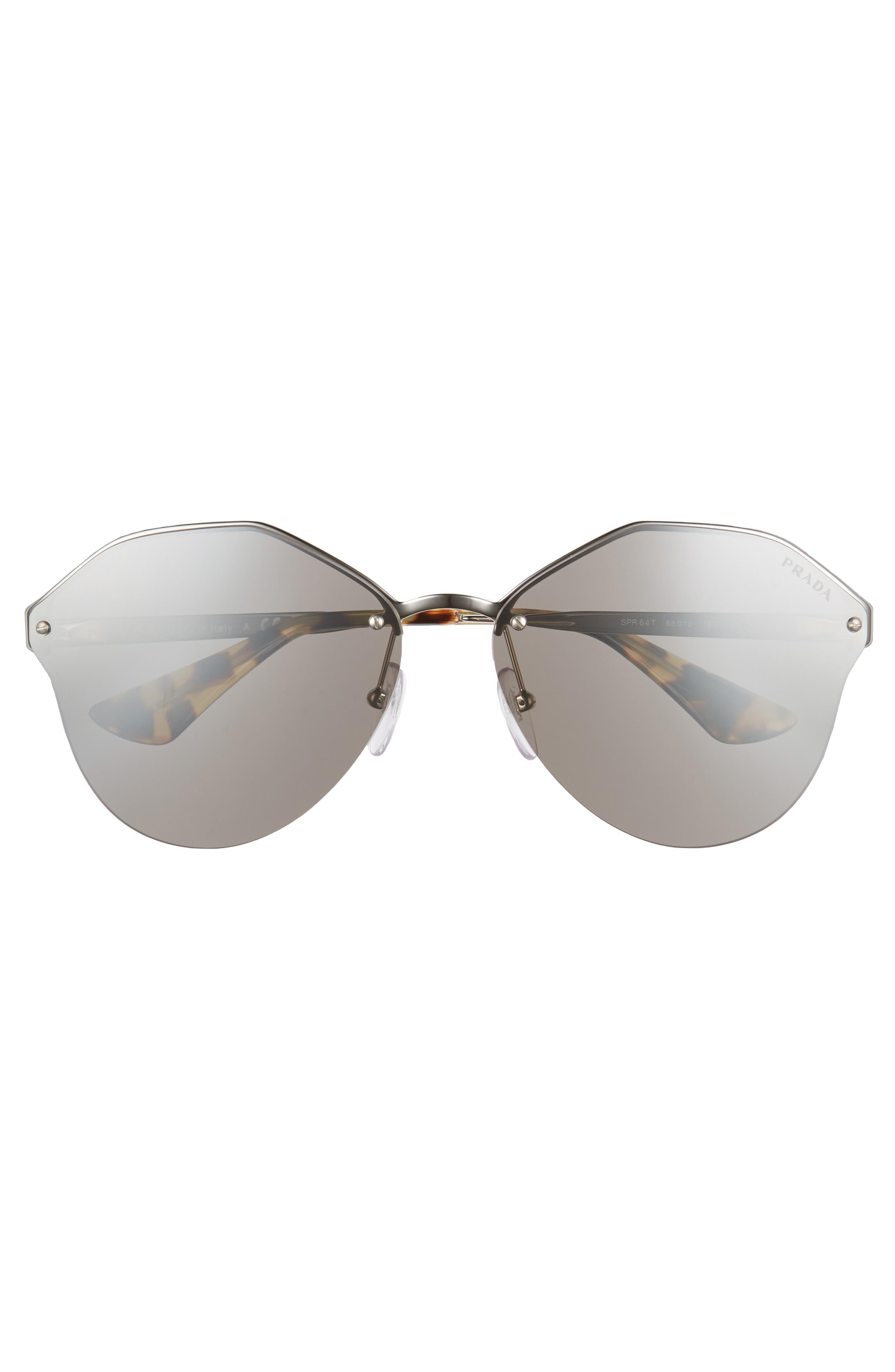 66mm Oversize Rimless Sunglasses,                             Alternate thumbnail 3, color,                             Brown Mirror