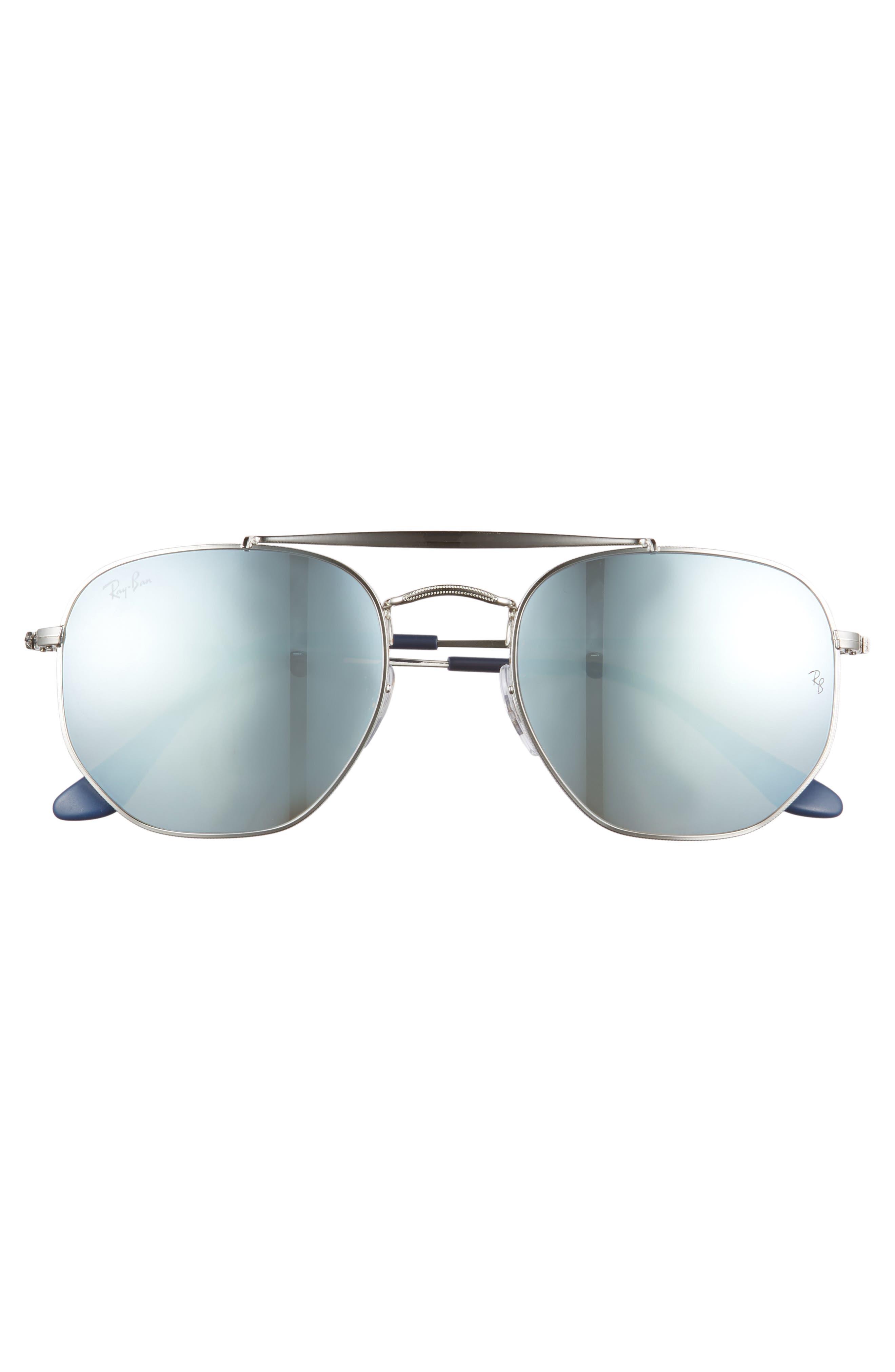 Marshal 54mm Aviator Sunglasses,                             Alternate thumbnail 3, color,                             Silver/ Mirror
