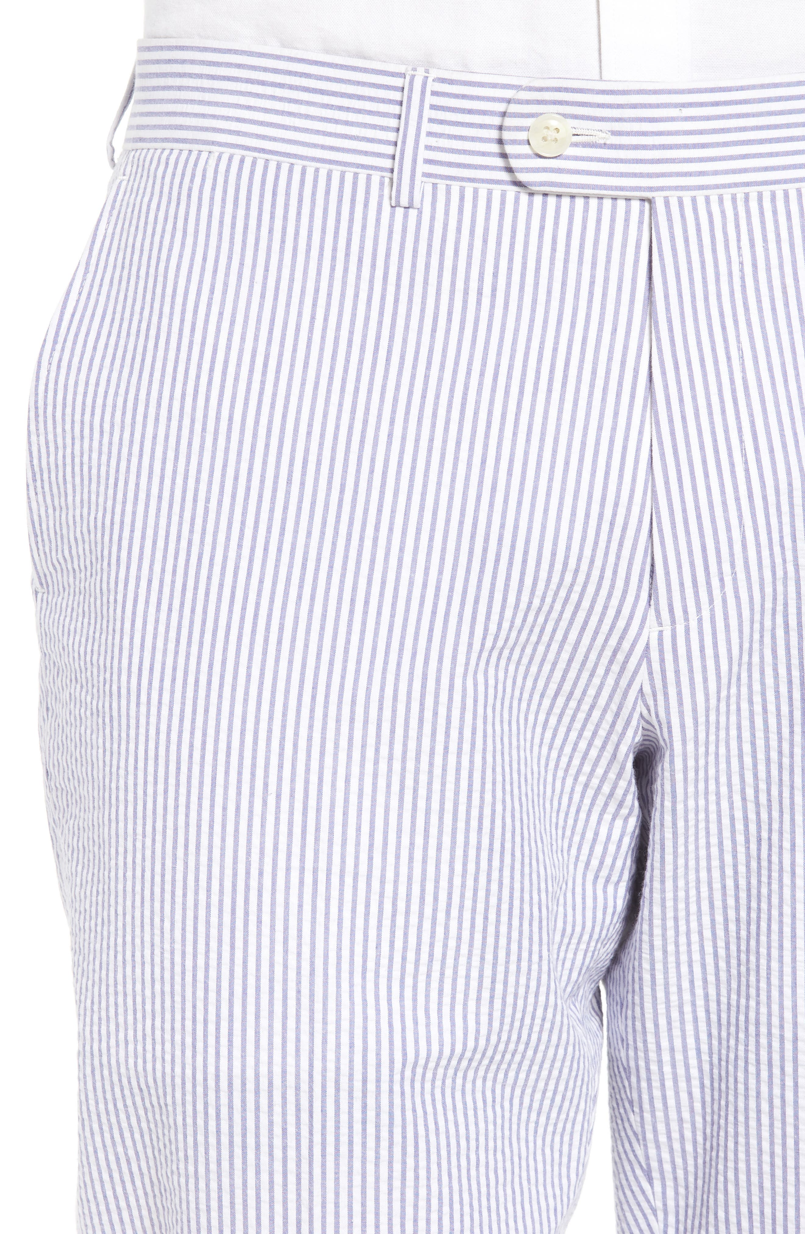 Andrew AIM Flat Front Seersucker Trousers,                             Alternate thumbnail 4, color,                             Blue And White