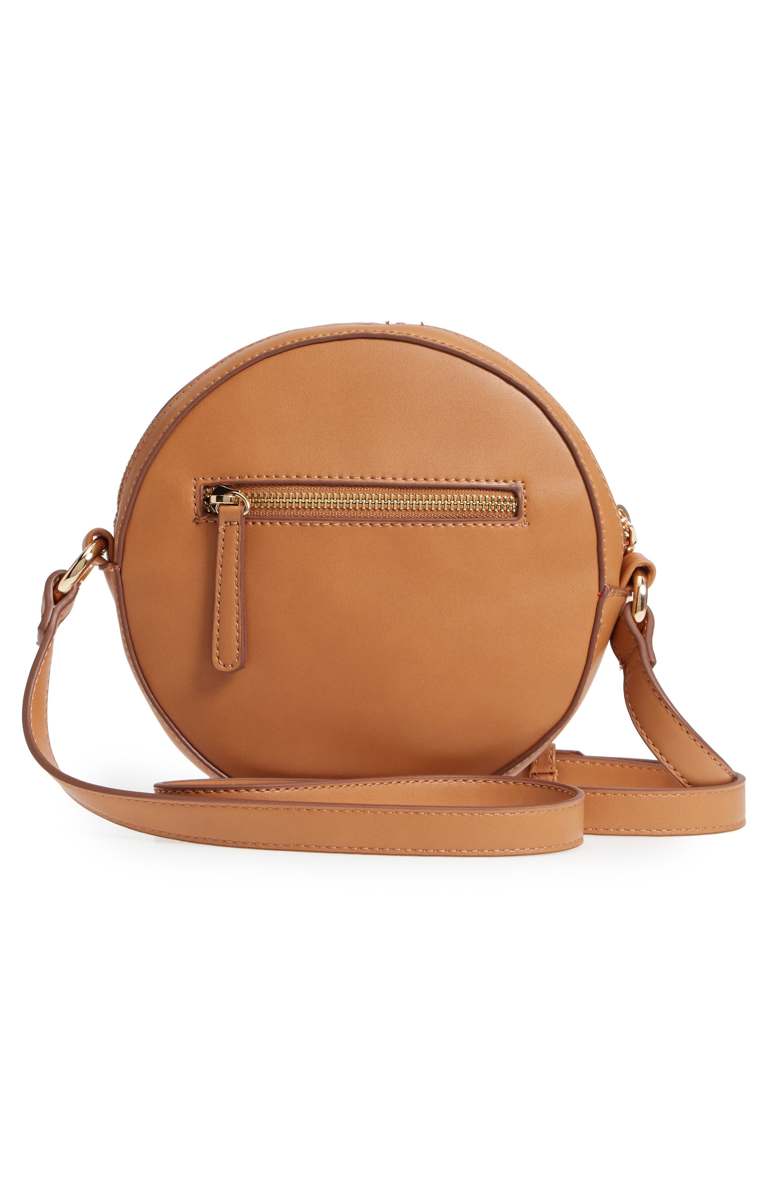 Faux Leather Canteen Crossbody Bag,                             Alternate thumbnail 3, color,                             Camel