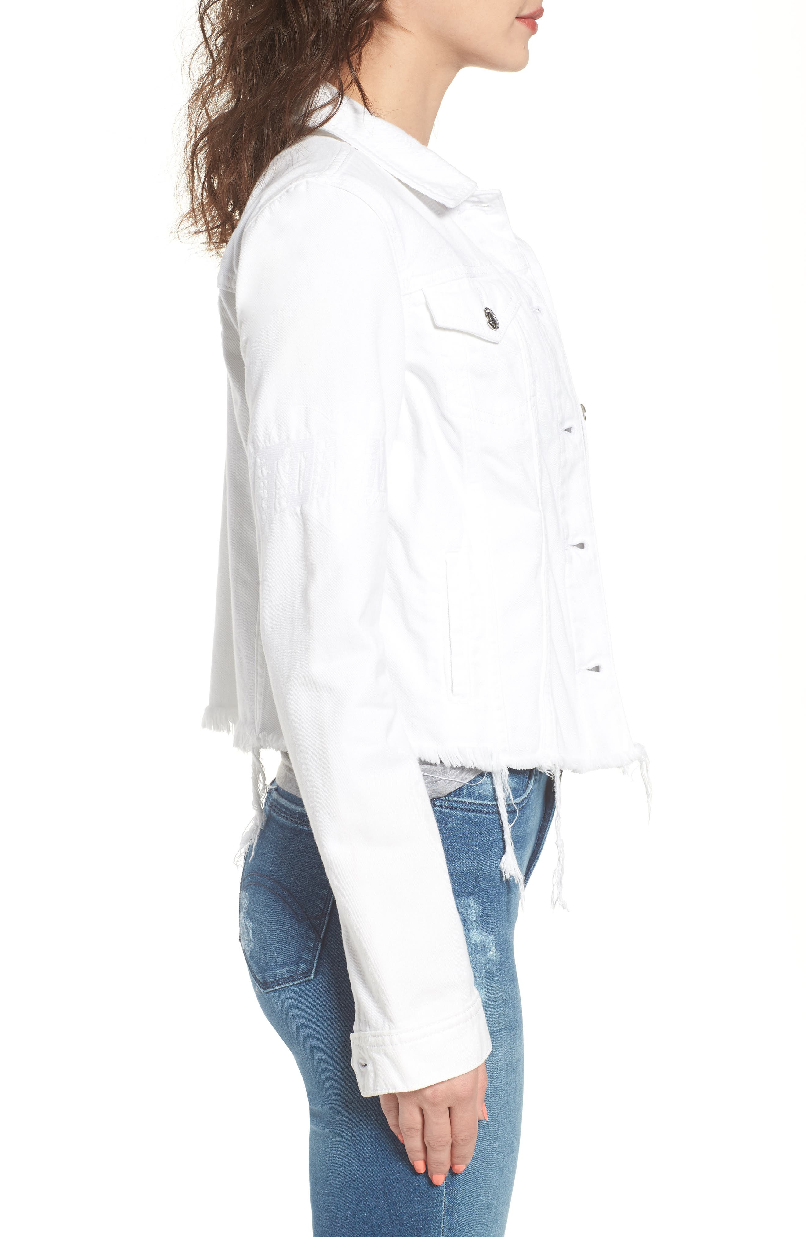 Slim Trucker Denim Jacket,                             Alternate thumbnail 3, color,                             Soft White Rigid