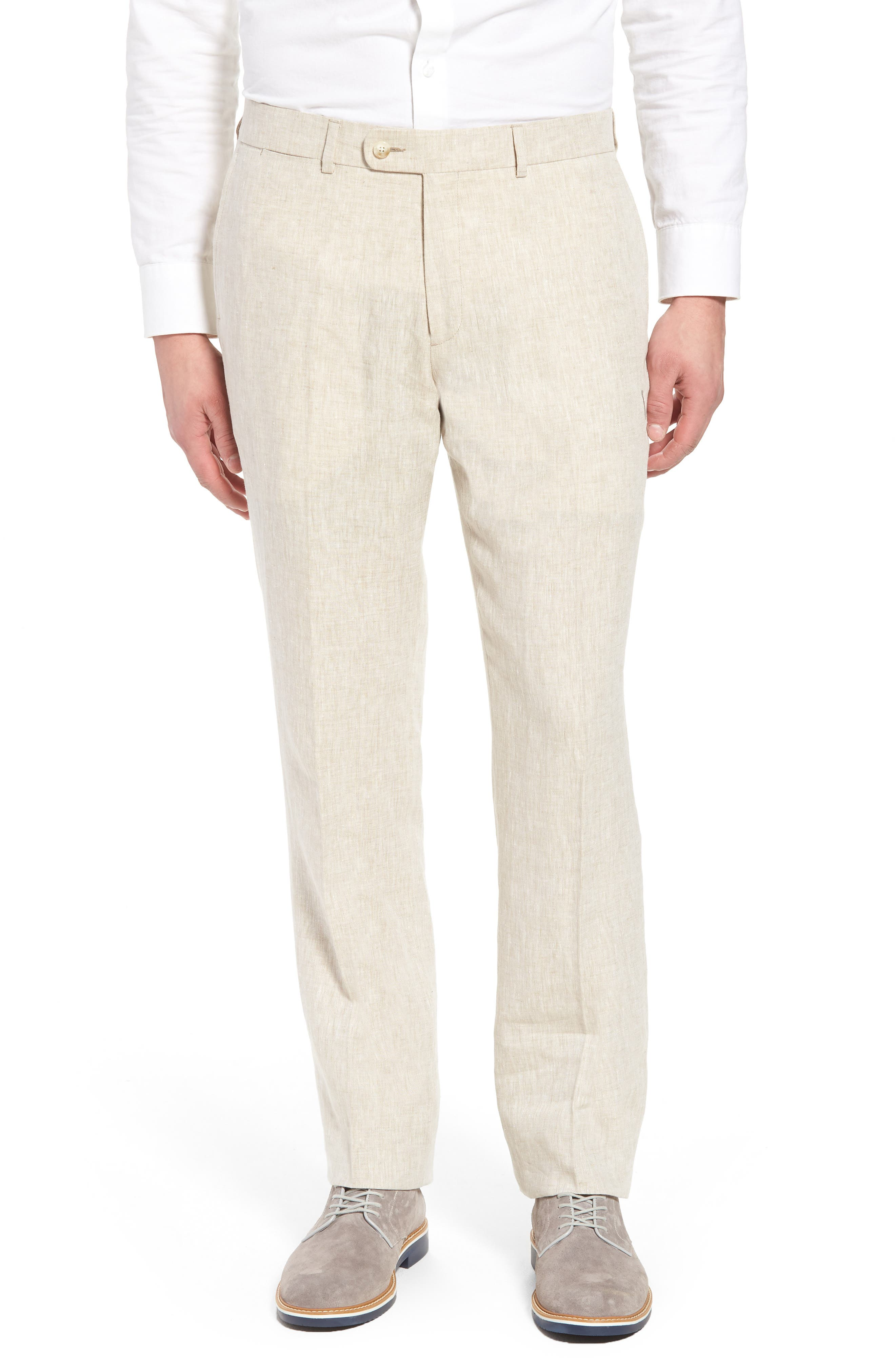 Andrew AIM Flat Front Linen Trousers,                             Main thumbnail 1, color,                             Natural