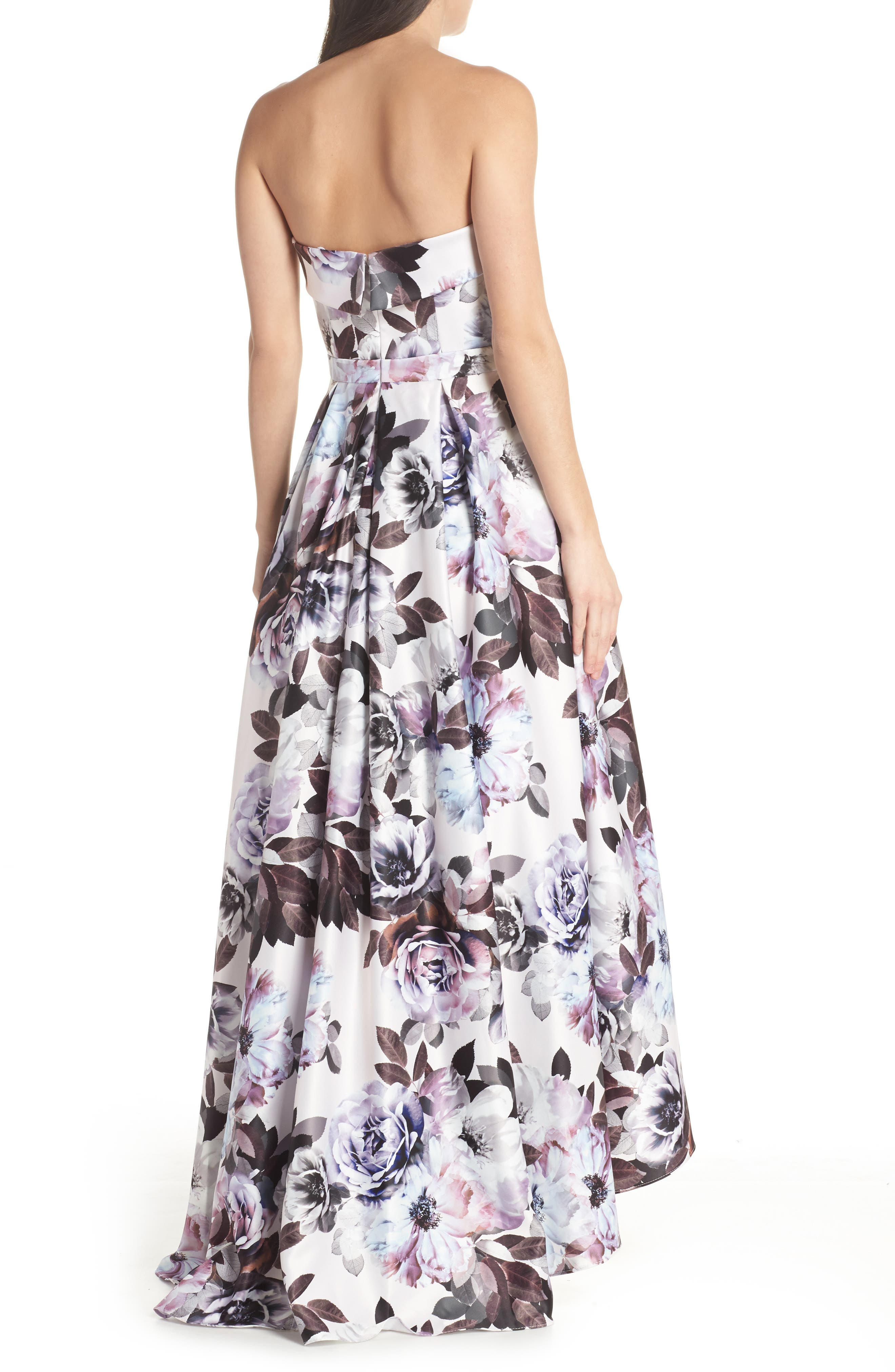 Floral Bustier High/Low Gown,                             Alternate thumbnail 2, color,                             Blue Multi