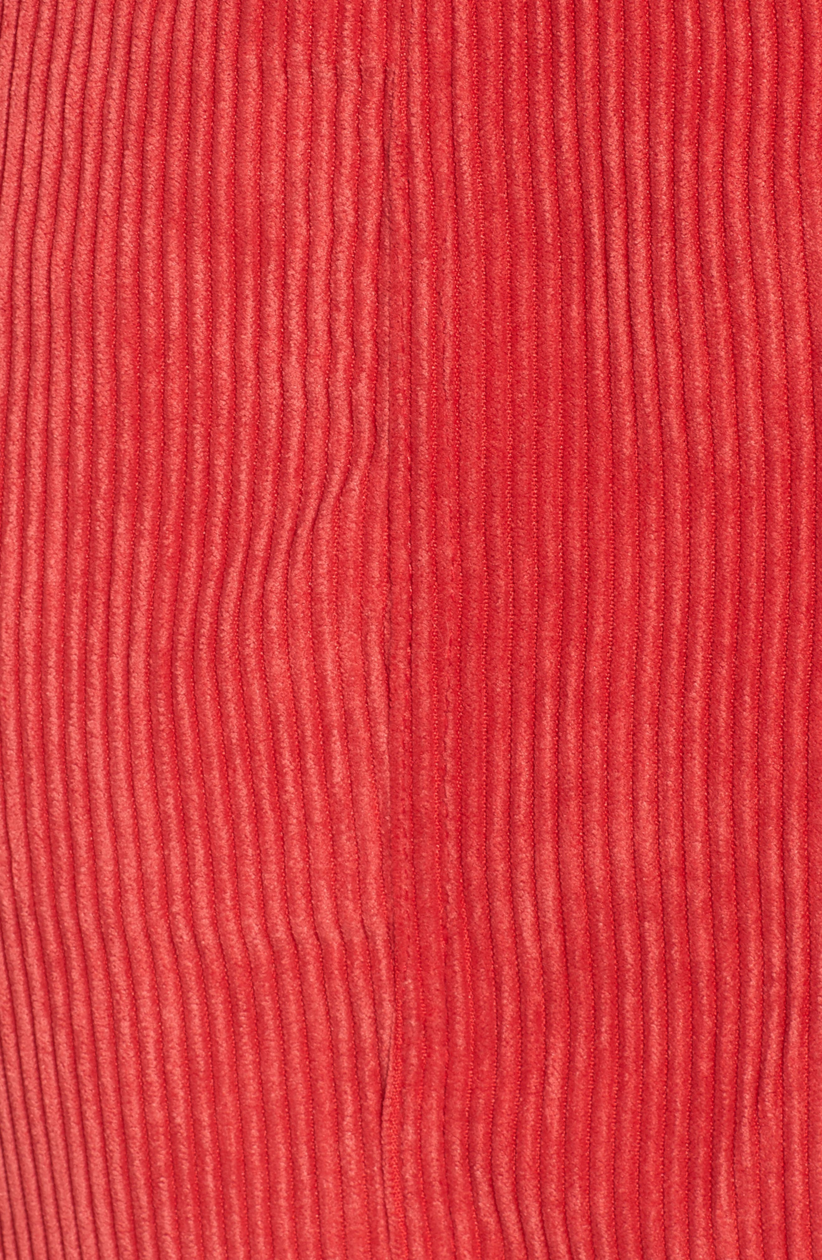 Button Front Corduroy Dress,                             Alternate thumbnail 5, color,                             Red