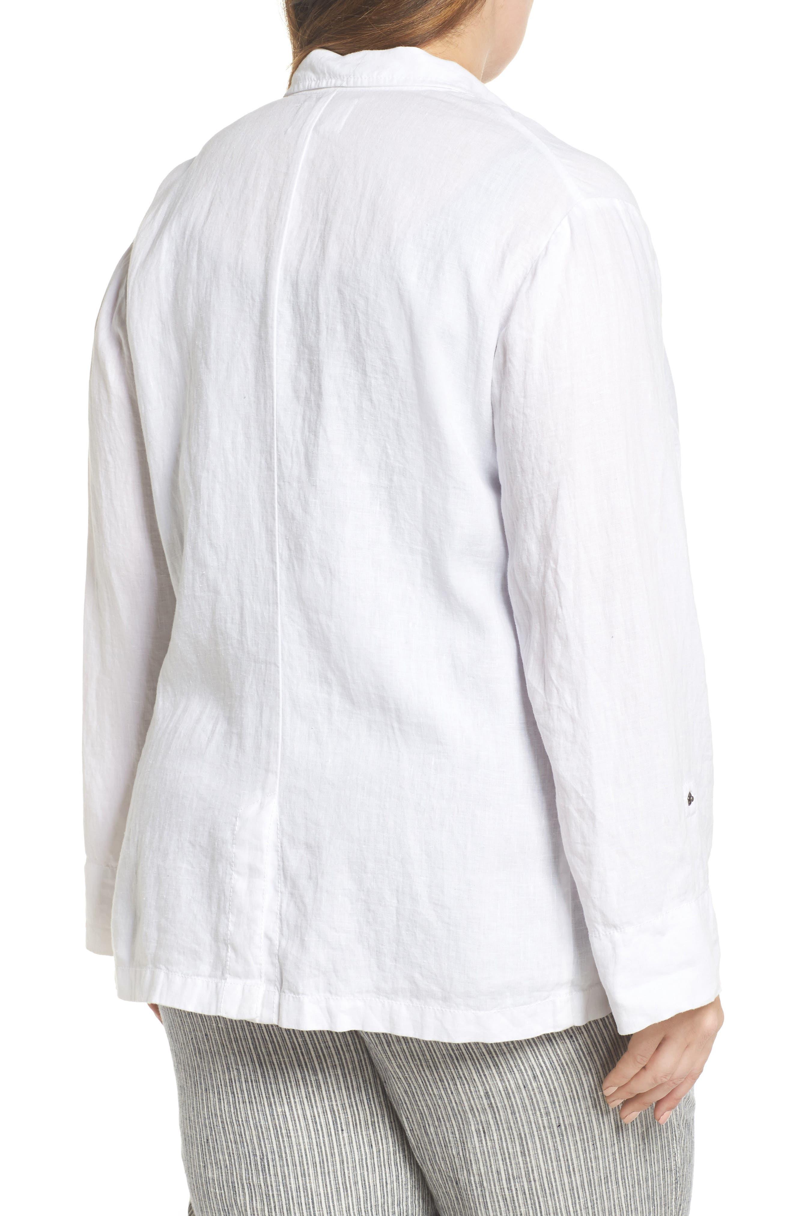 Long Linen Boyfriend Blazer,                             Alternate thumbnail 2, color,                             White