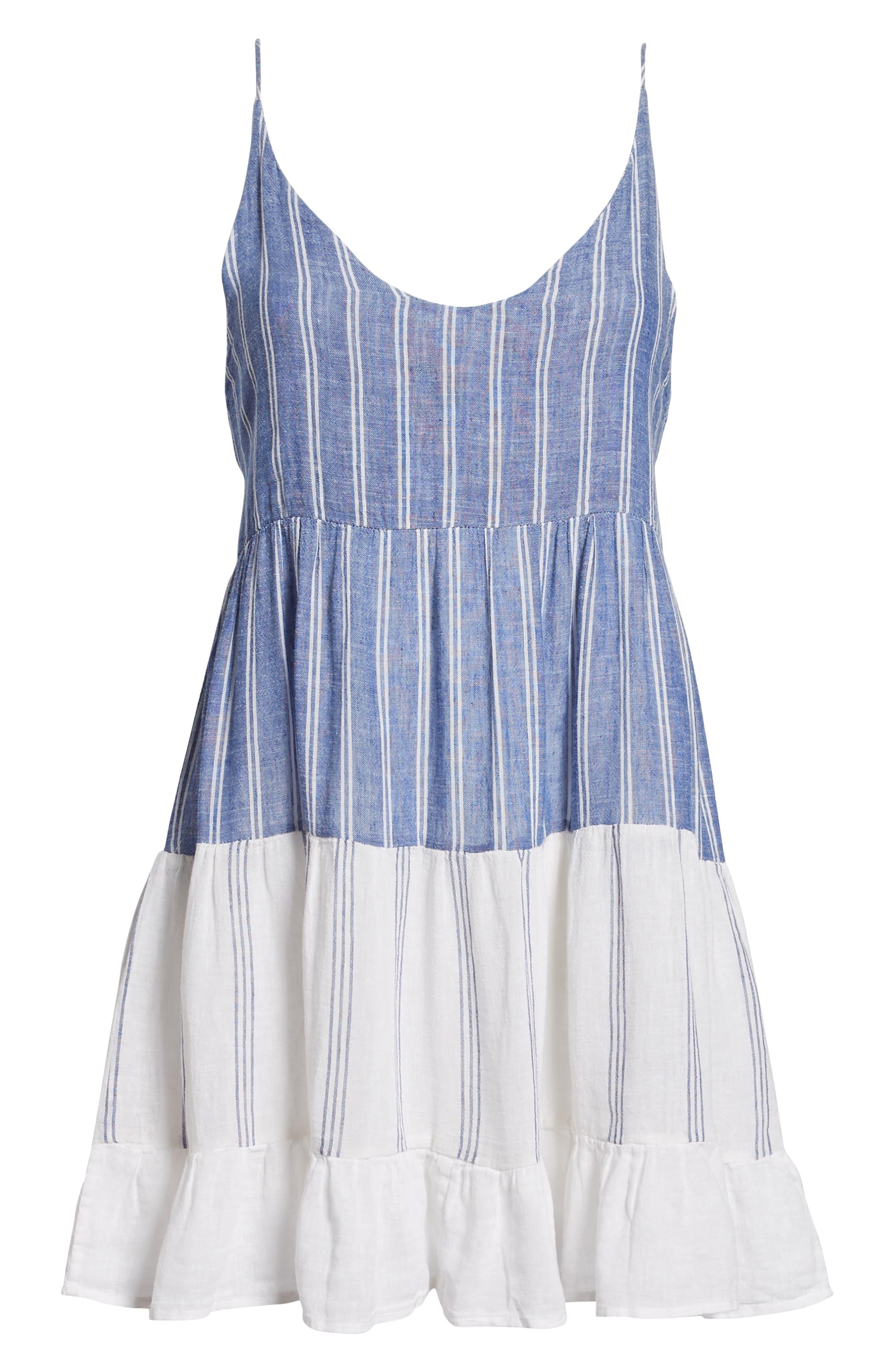 Mattie Dress,                             Alternate thumbnail 6, color,                             Mixed Blues Stripe