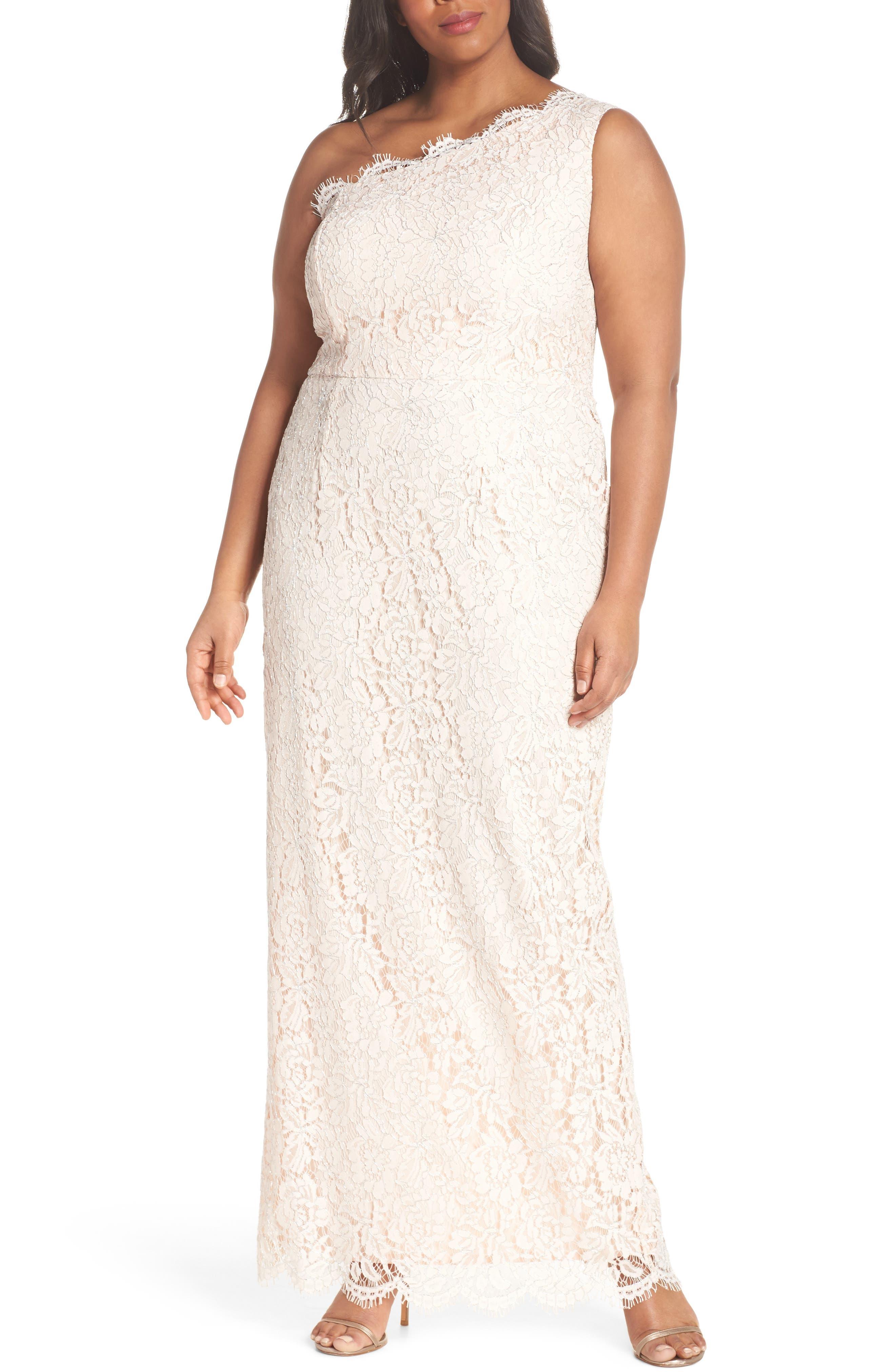 One-Shoulder Metallic Lace Gown,                         Main,                         color, Blush