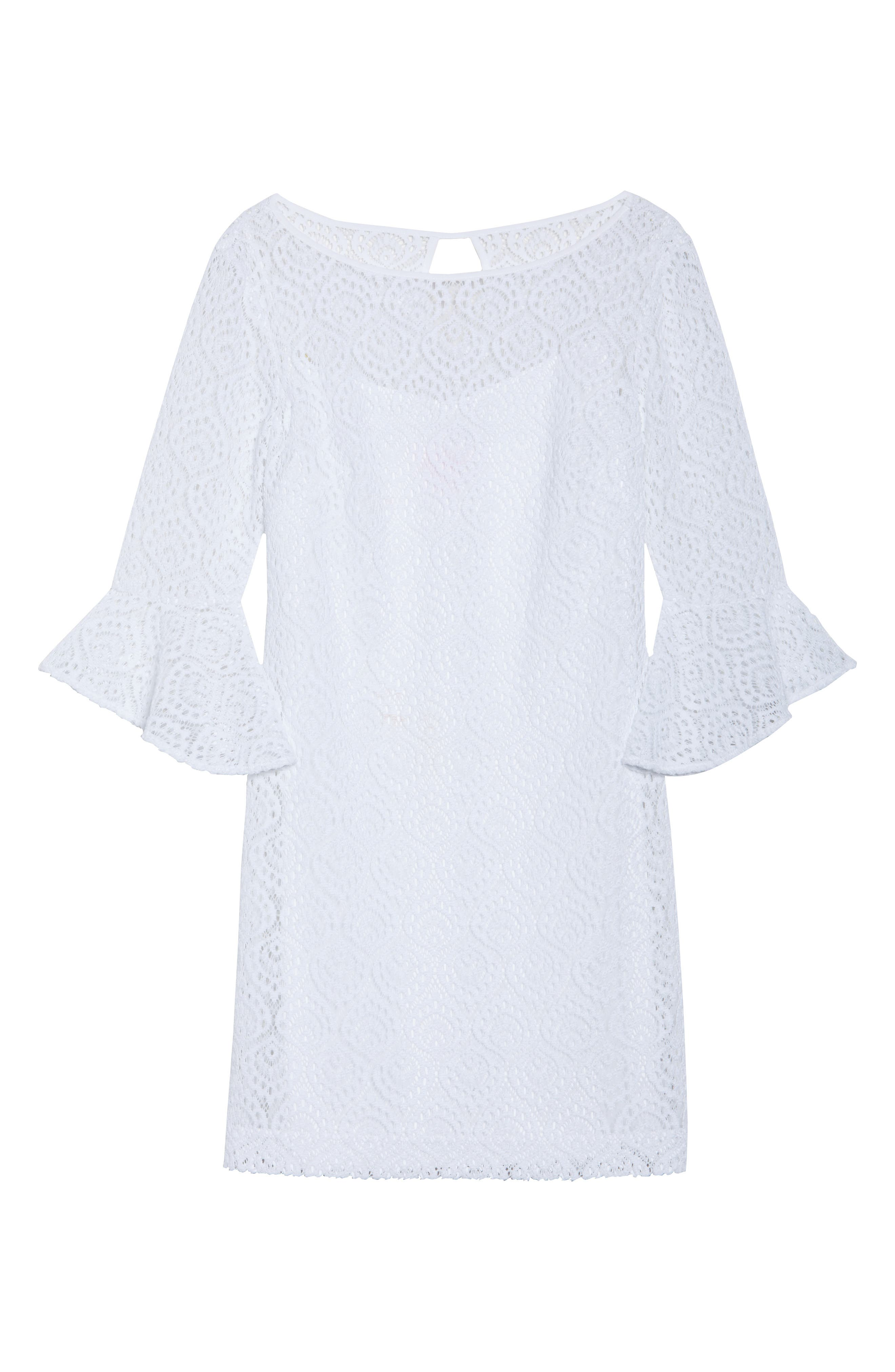 Fontaine Lace Minidress,                             Alternate thumbnail 6, color,                             Resort White Gypsea Lace