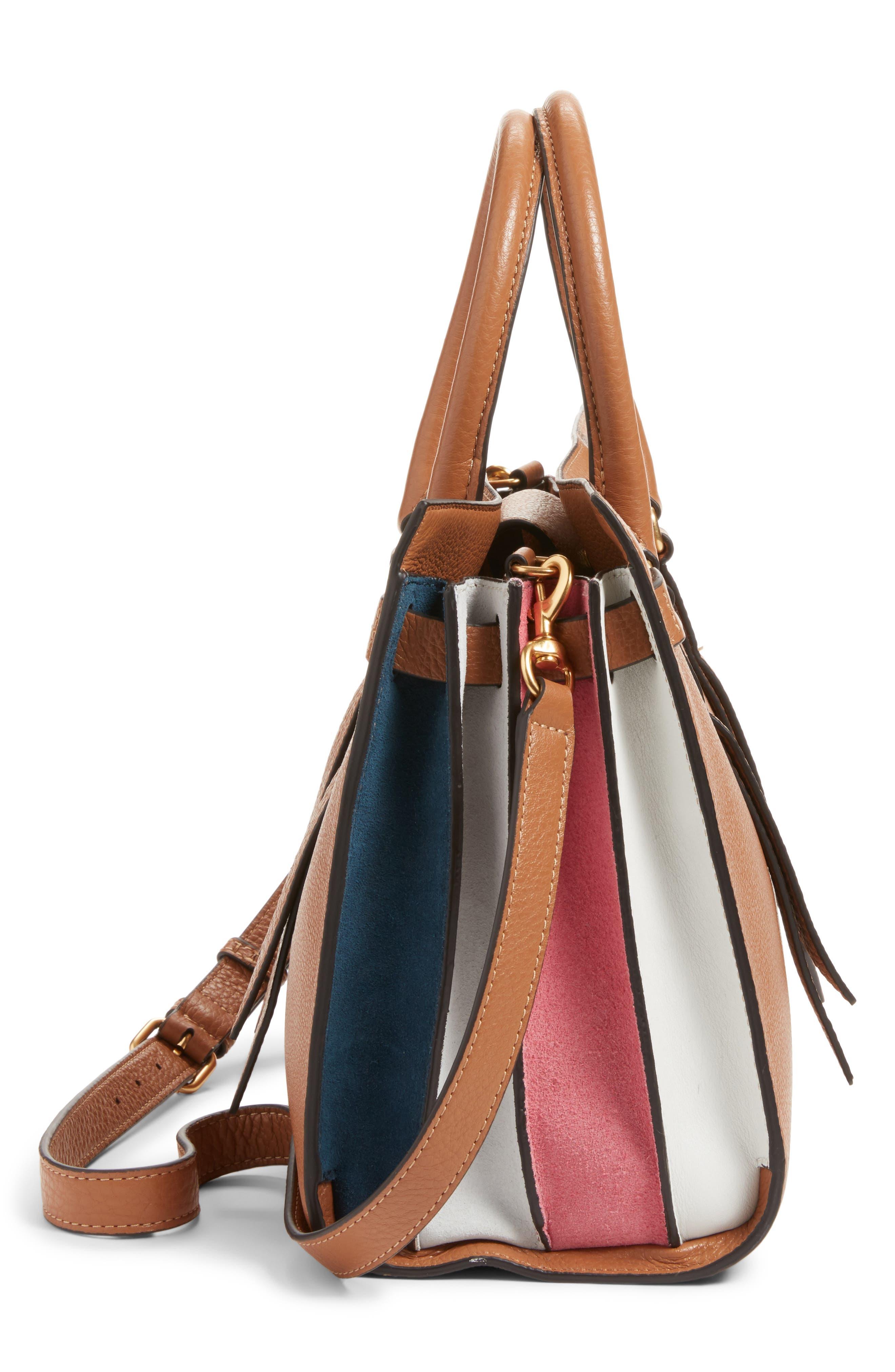 Sherry Calfskin Leather Satchel,                             Alternate thumbnail 5, color,                             Almond Multi